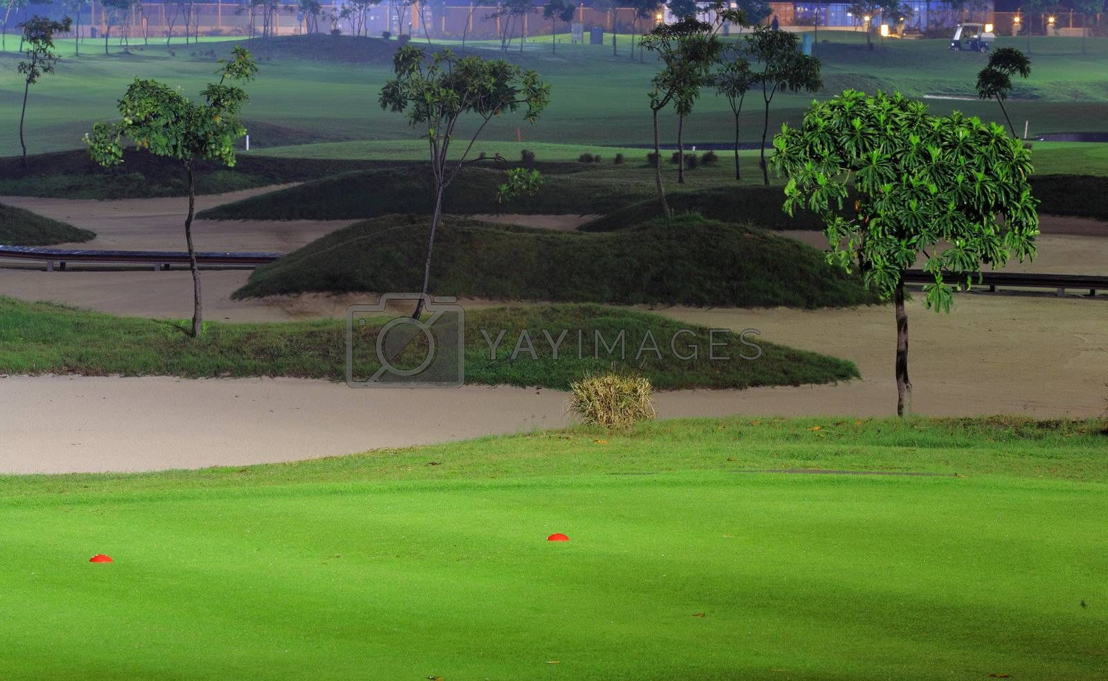 Royalty free image of golf court at night by leungchopan