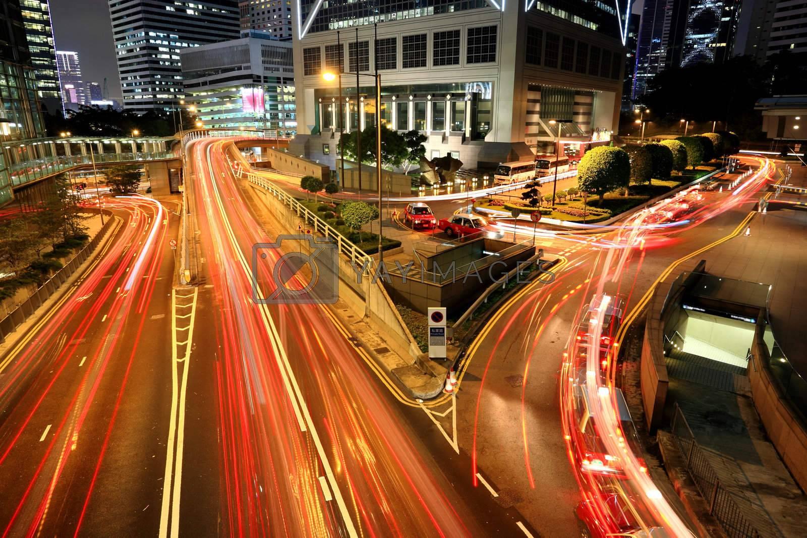 traffic in downtown, Hong kong by leungchopan