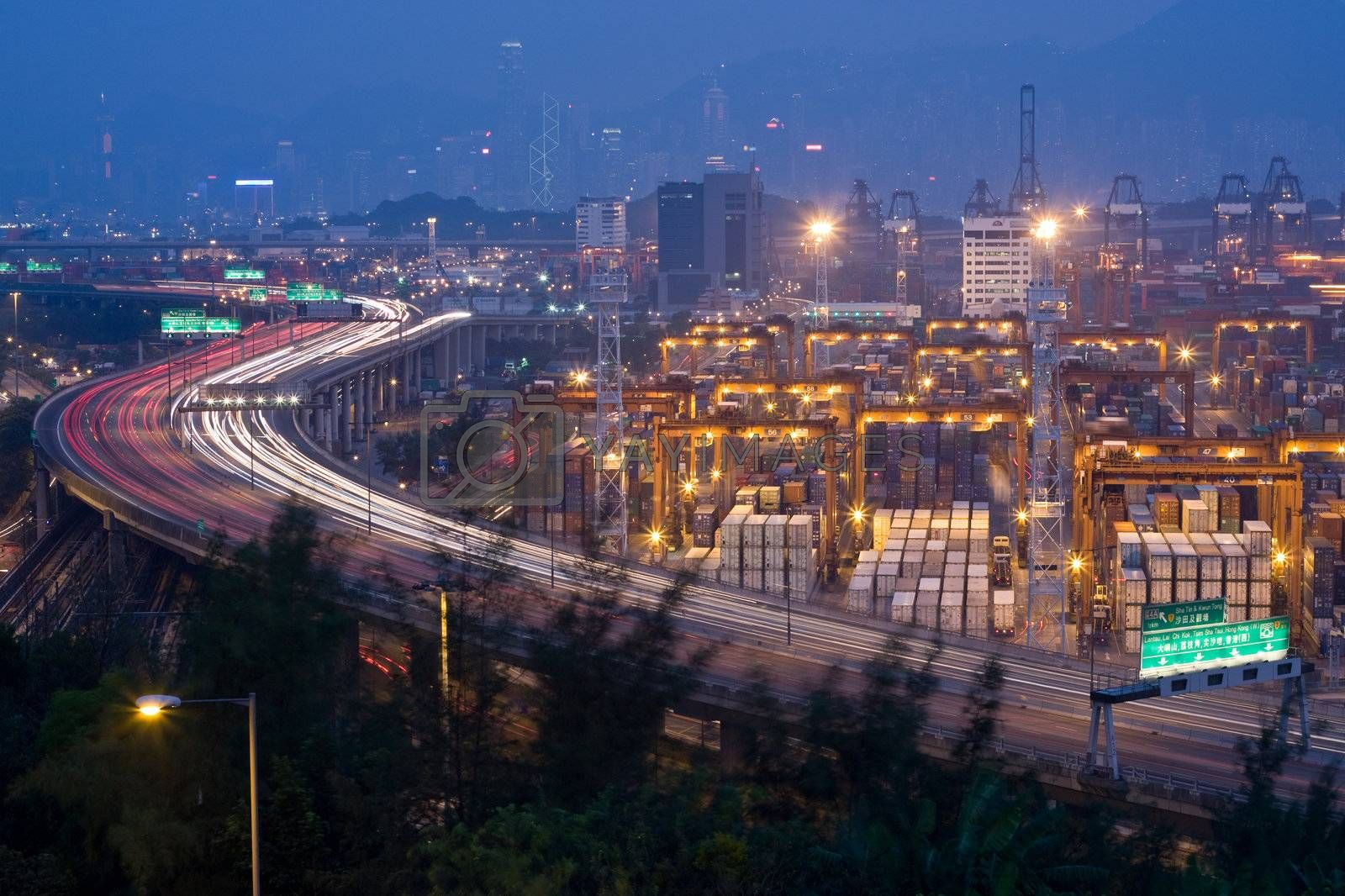 Royalty free image of Highway and Container Terminals by leungchopan
