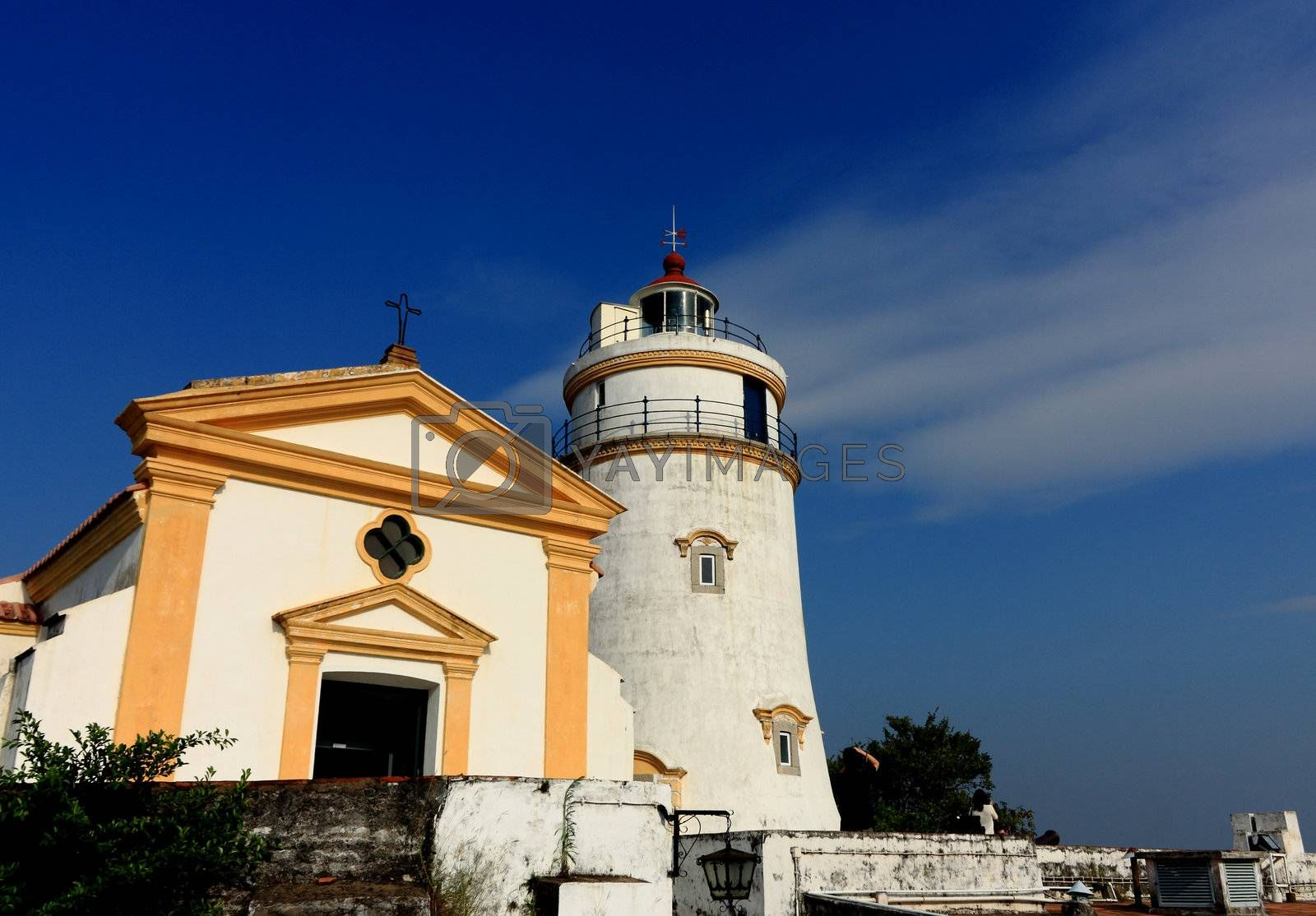 Royalty free image of this lighthouse is the oldest in South China Coast. It is located at fort Guia, the highest point on Macau Peninsula. by leungchopan