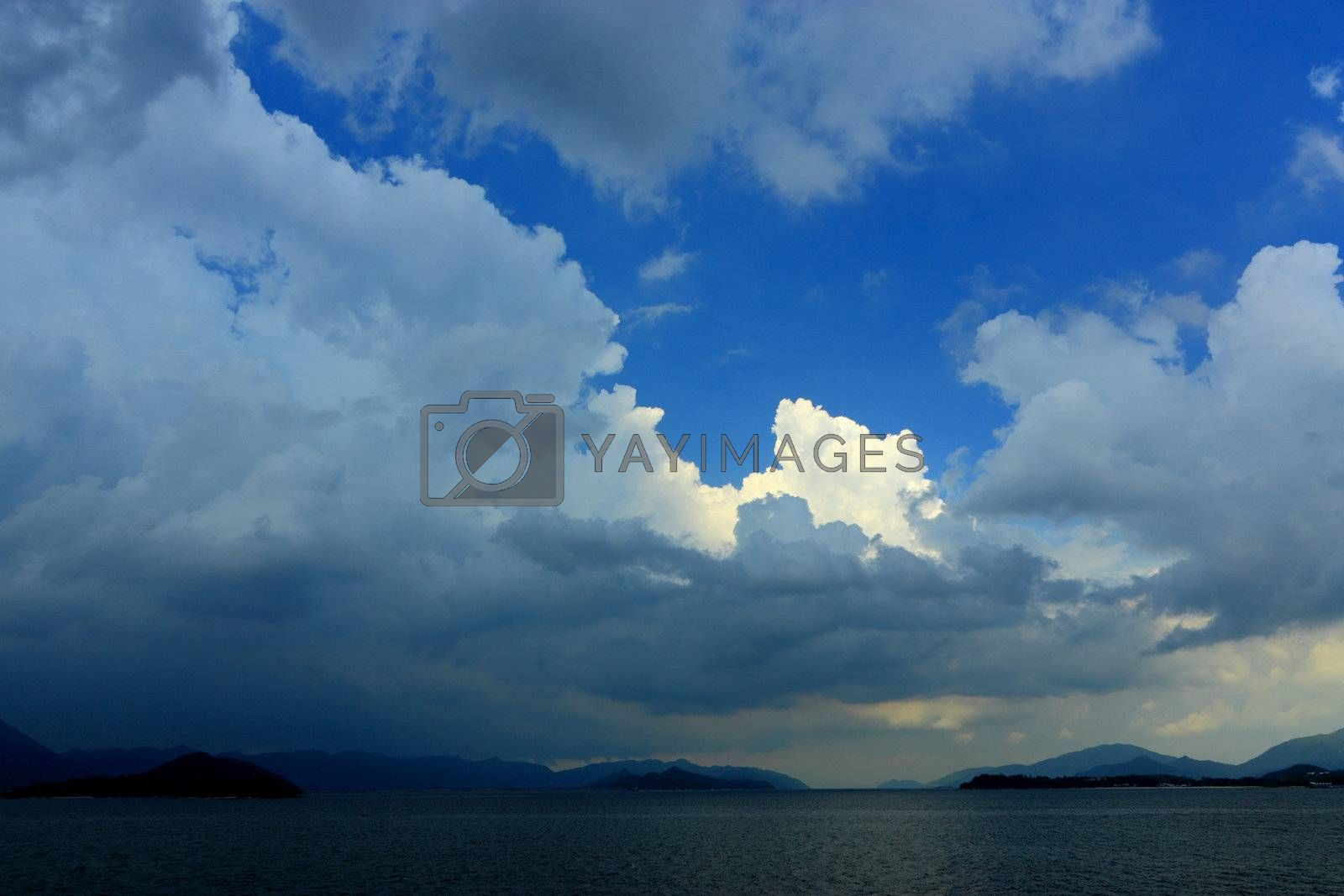 Royalty free image of blue sky with many clouds, after storm by leungchopan