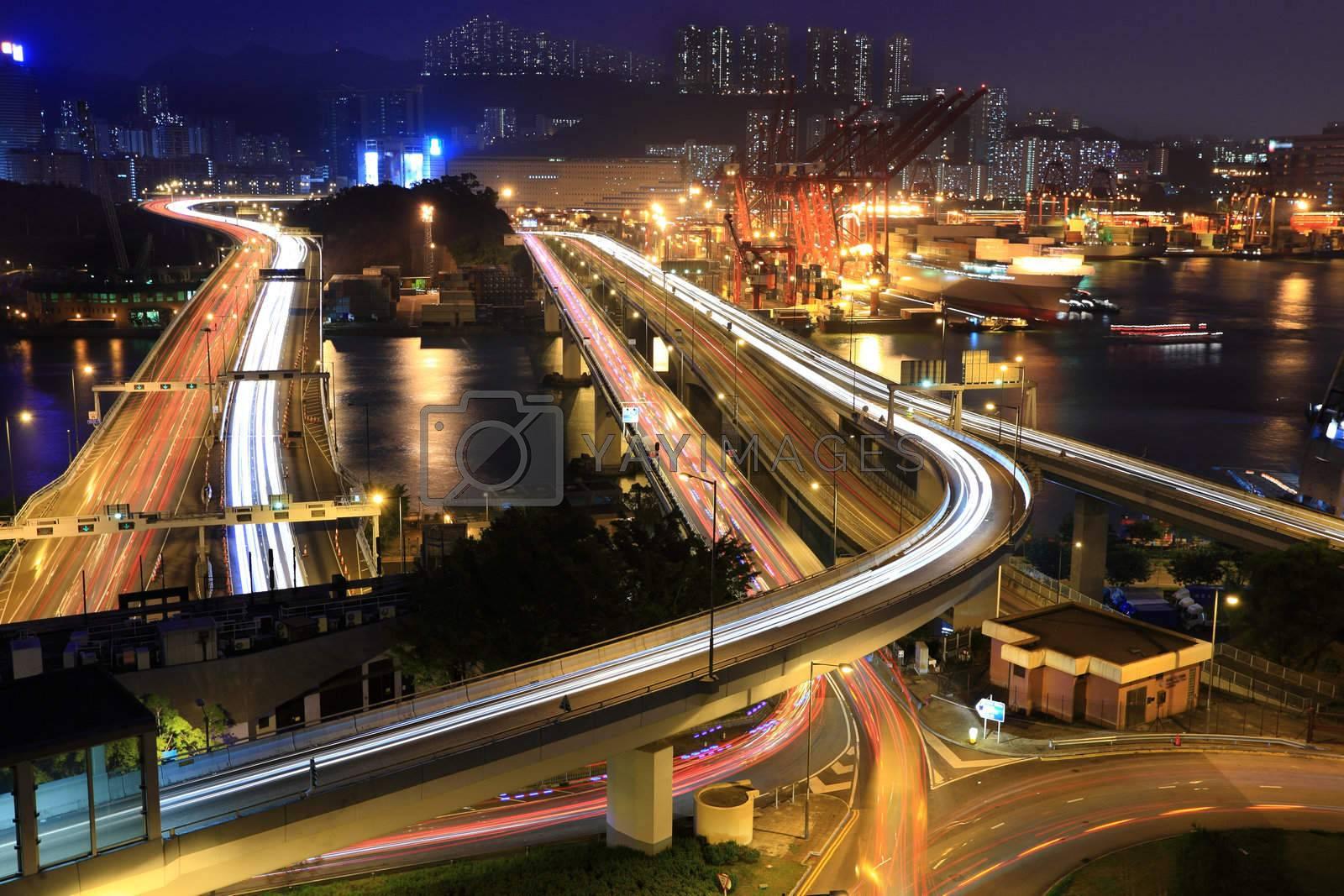 Cargo Terminal and highways of Hong Kong China by leungchopan