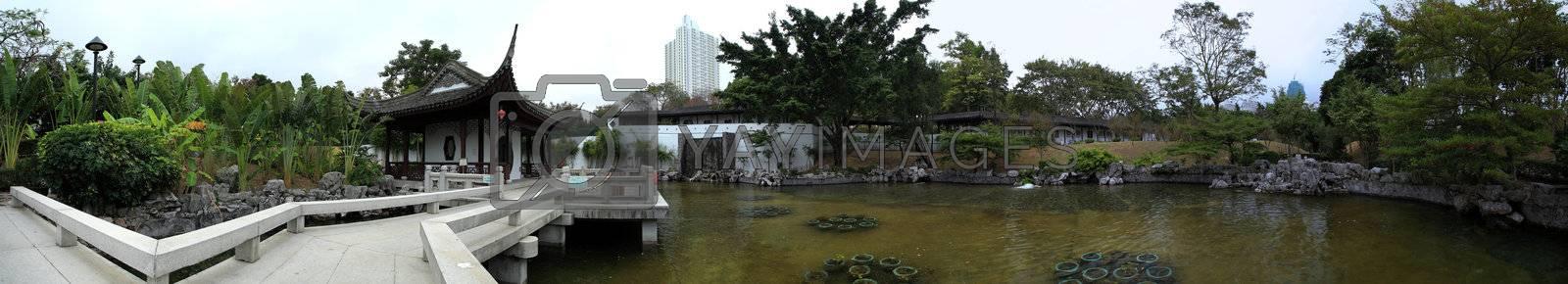 Royalty free image of asian garden panorama by leungchopan