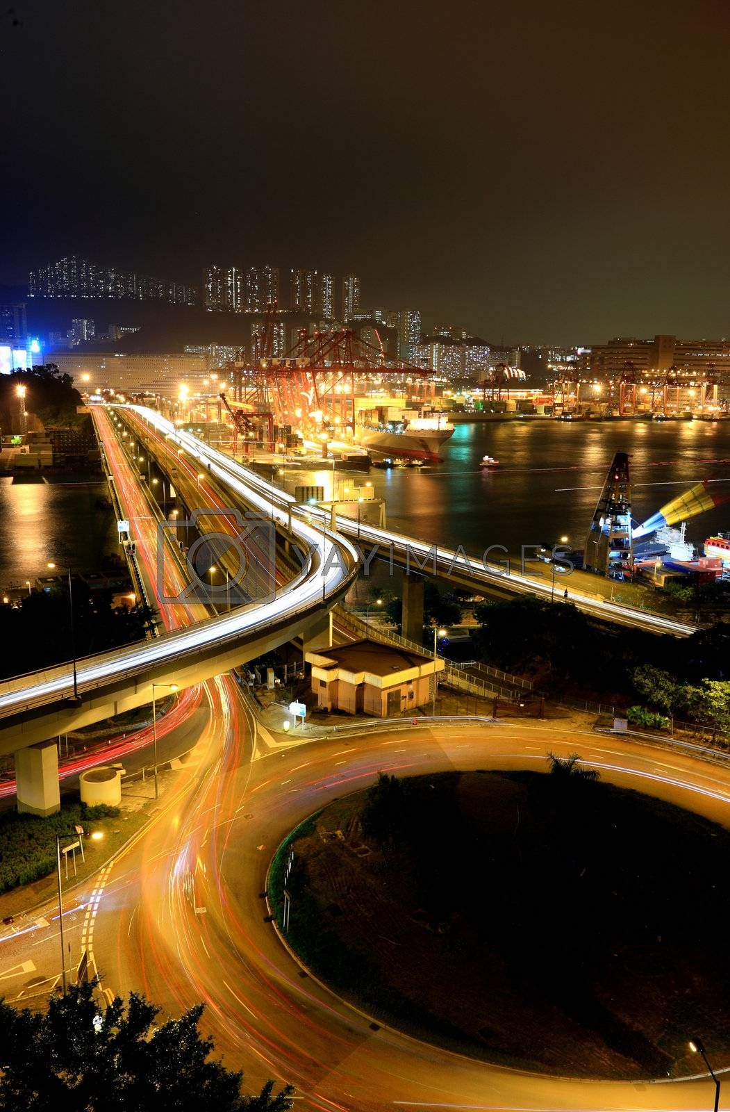 Royalty free image of highway in Hong Kong by leungchopan