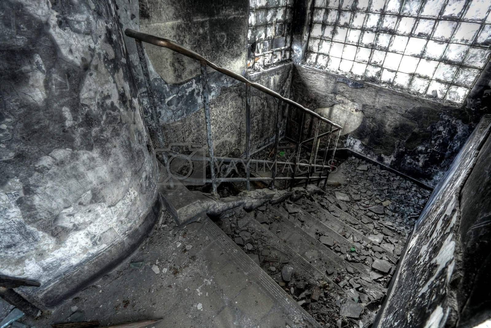 Royalty free image of High Dynamic Range Image of a Burned Out building, stair by leungchopan