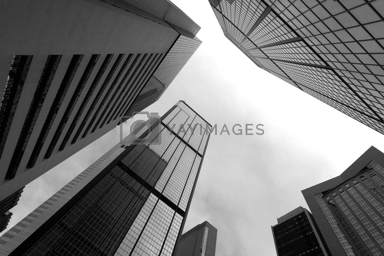 Royalty free image of High business buildings, black and white by leungchopan