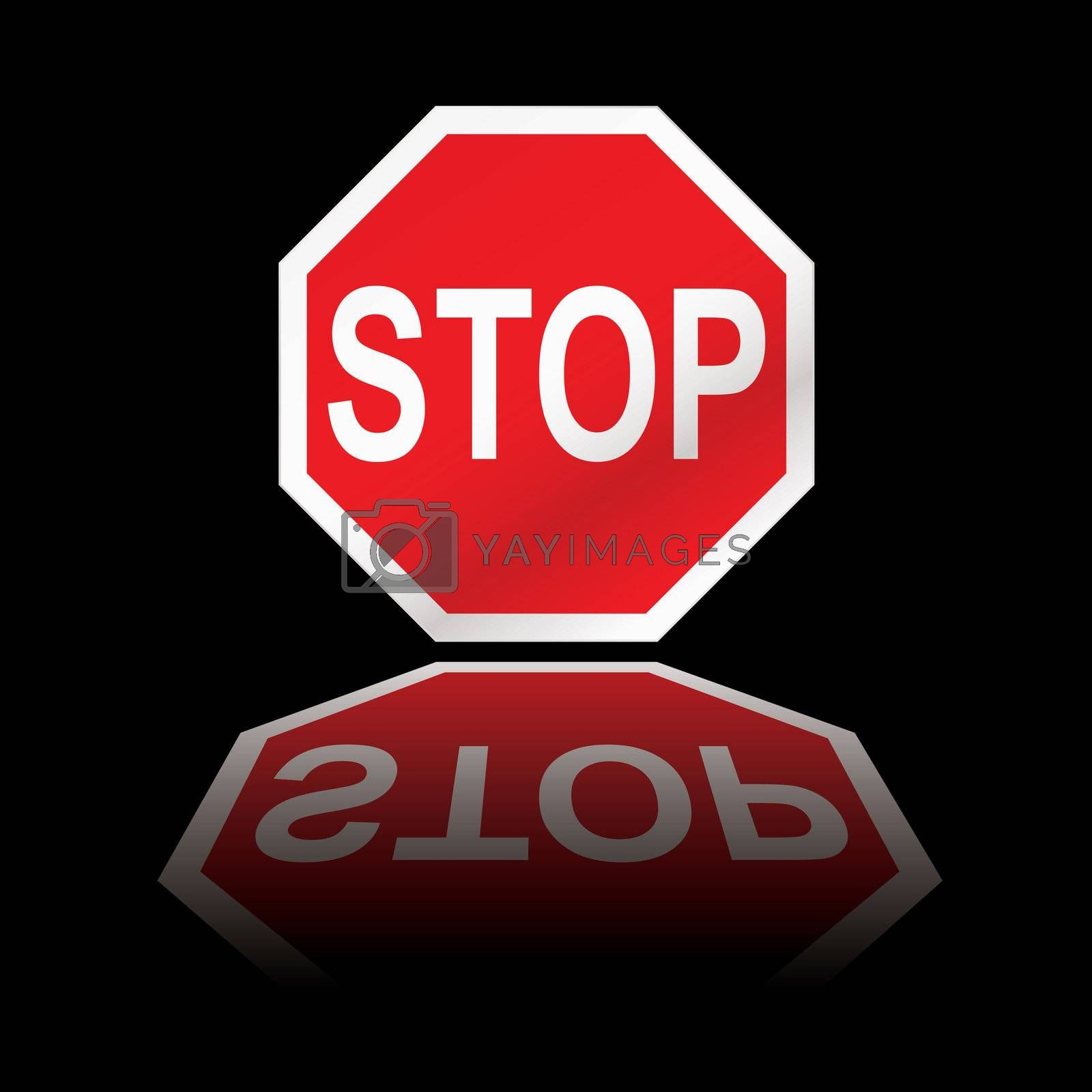 Royalty free image of stop road sign reflection by nicemonkey