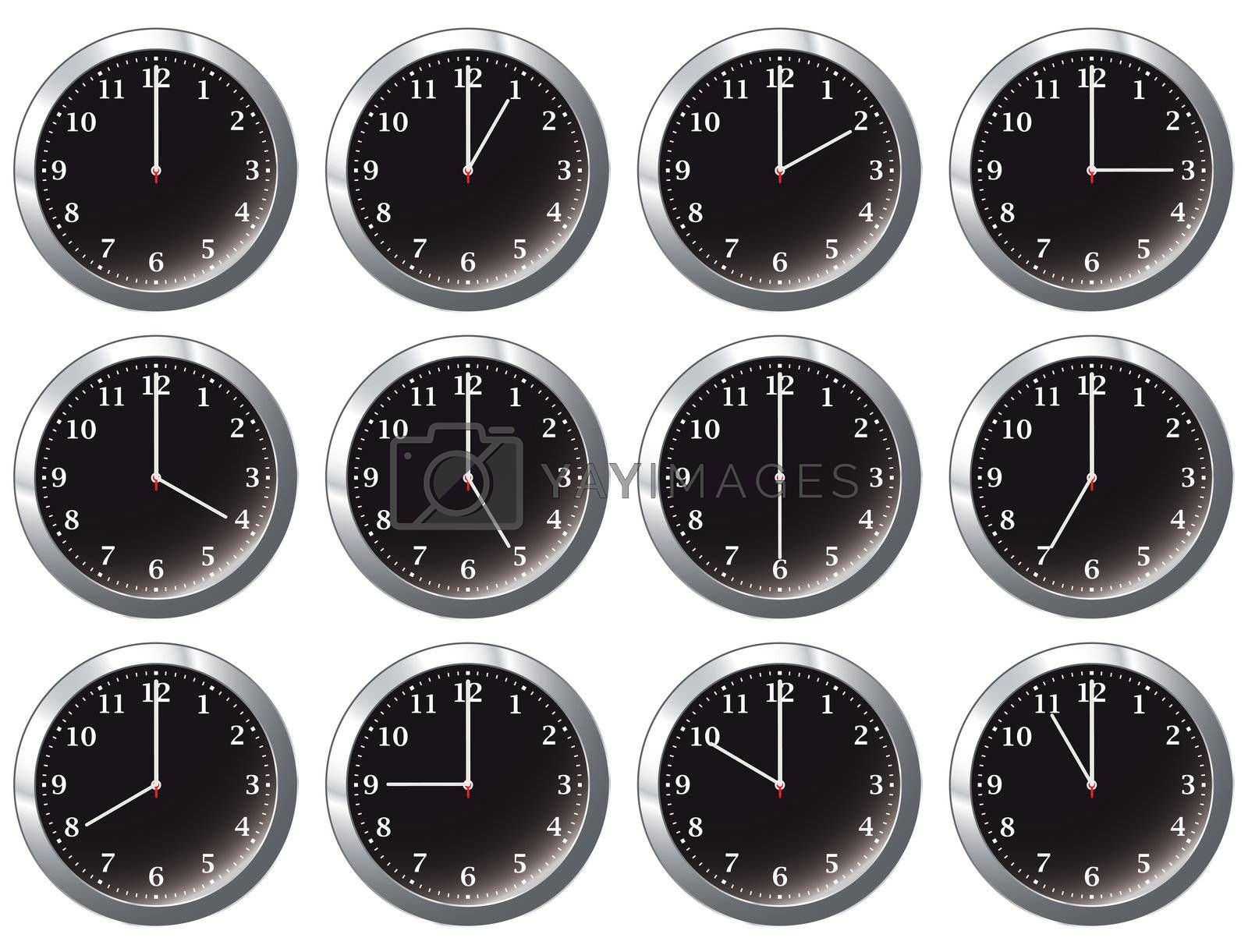 Royalty free image of office clock black all times by nicemonkey