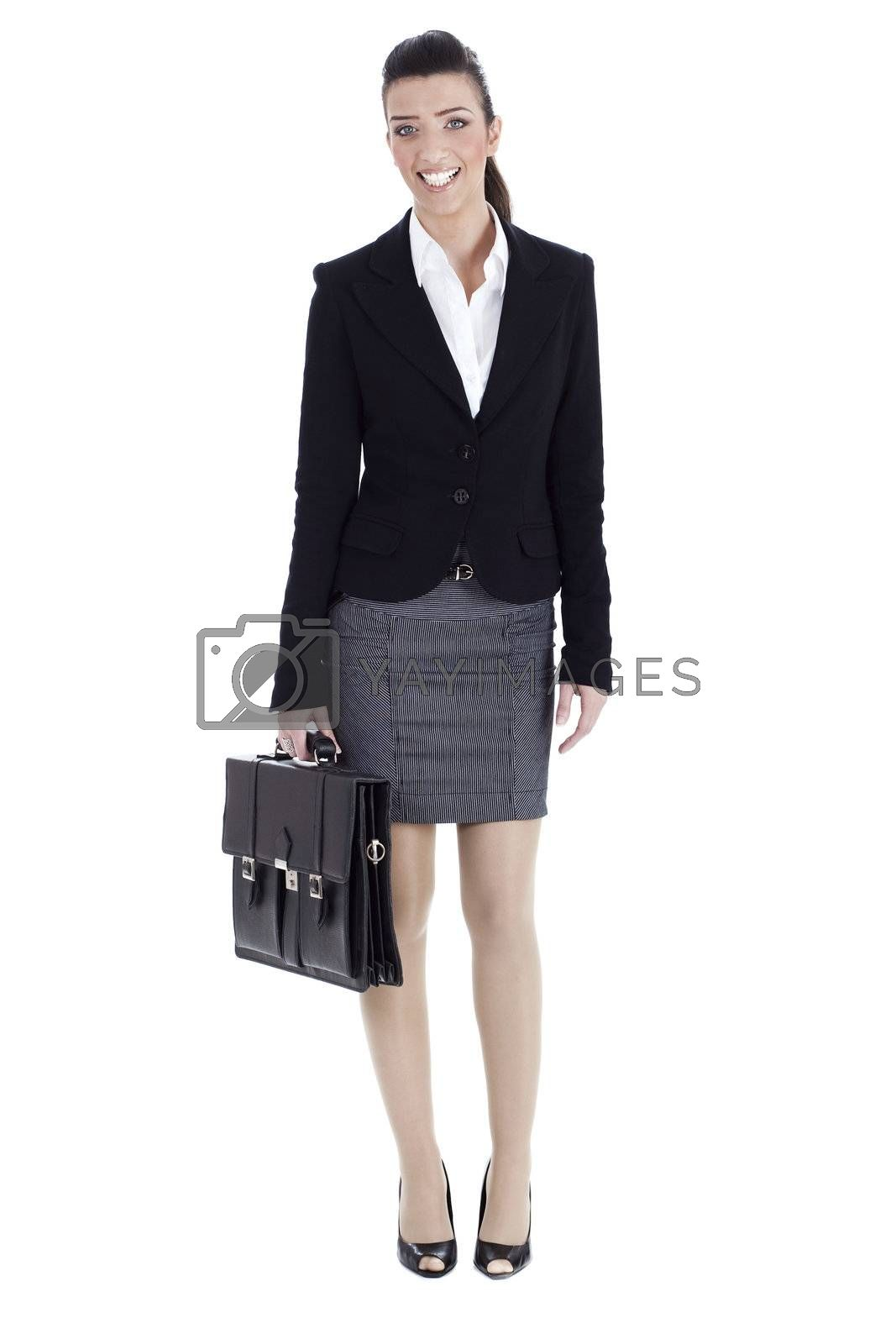 Perfect business woman ready to office with her laptop bag by get4net