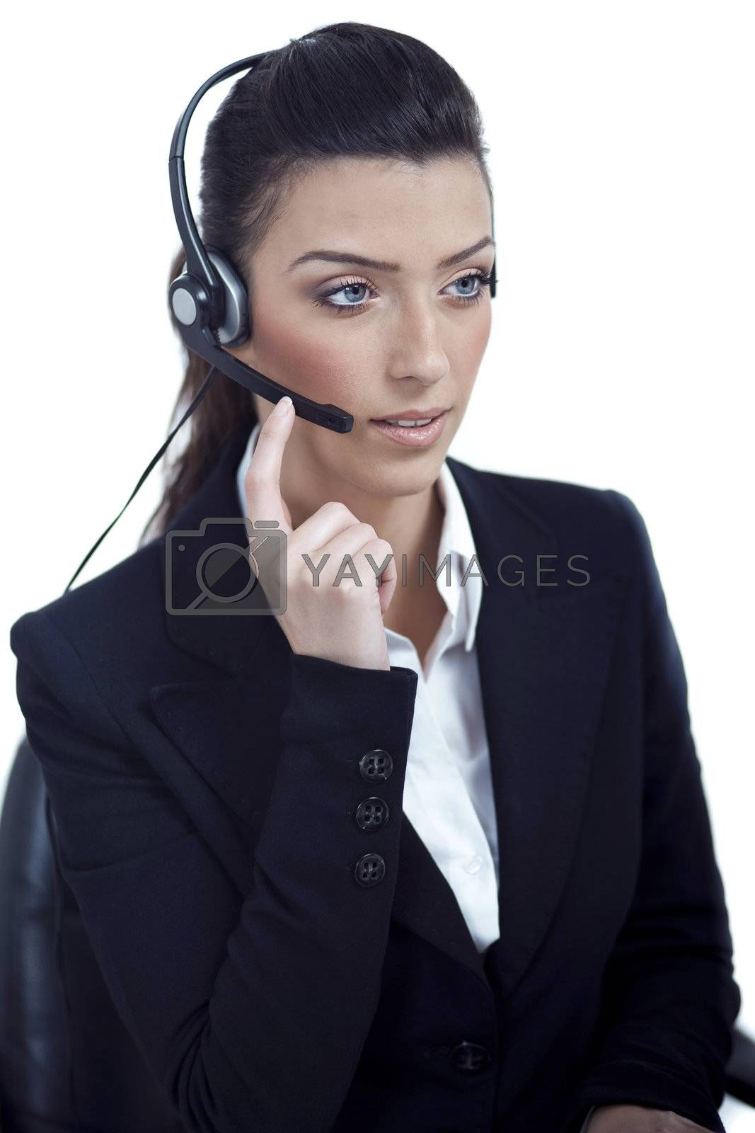 Royalty free image of Beautiful call center telephone woman wearing headset by get4net