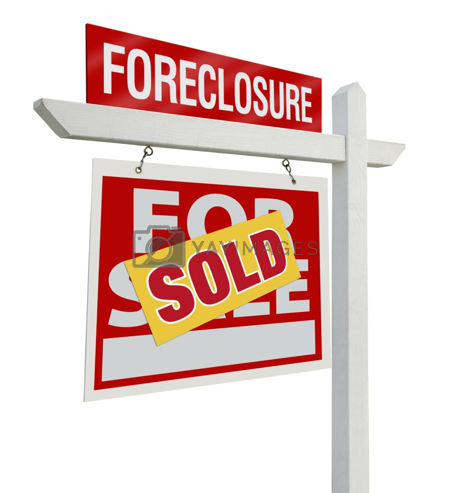 Royalty free image of Sold Foreclosure Real Estate Sign Isolated - Left by Feverpitched