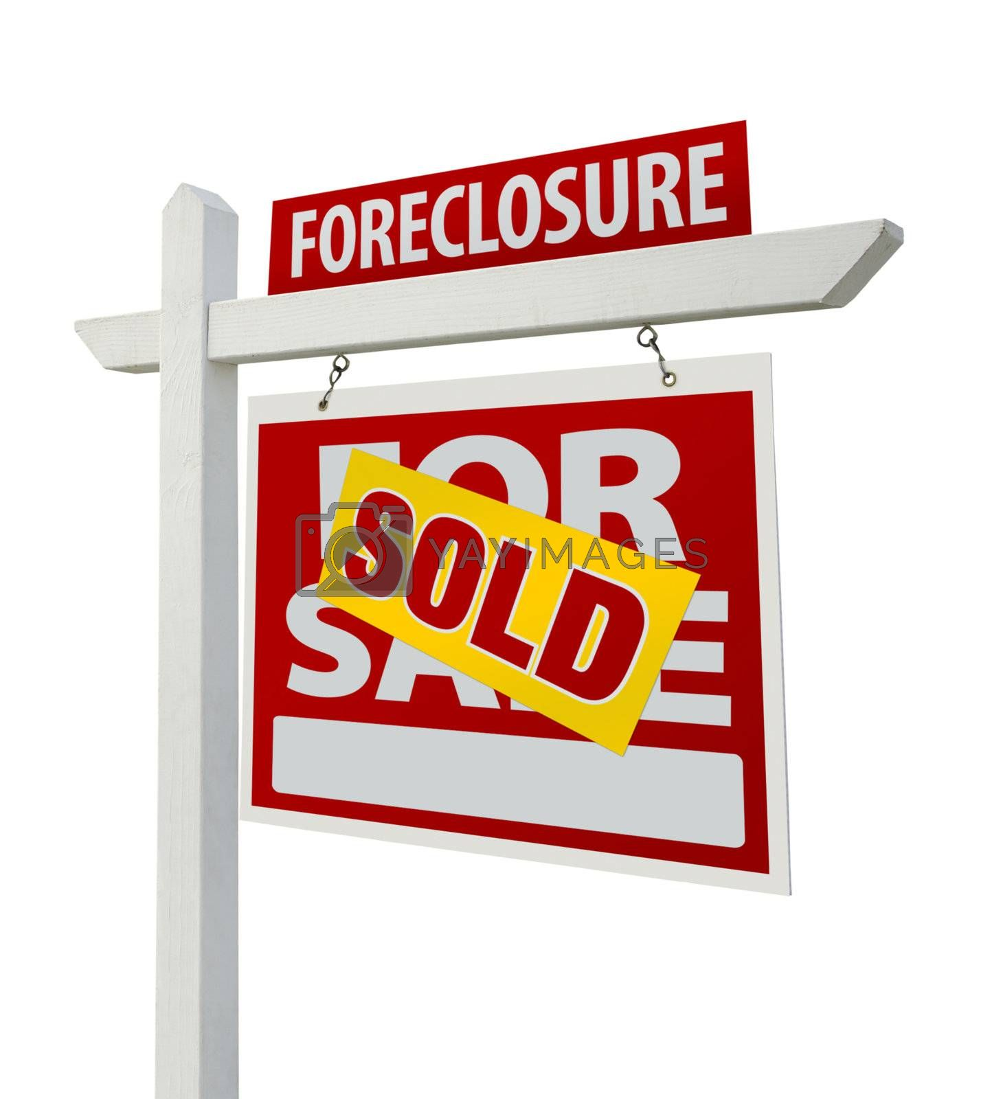 Royalty free image of Sold Foreclosure Real Estate Sign Isolated - Right by Feverpitched