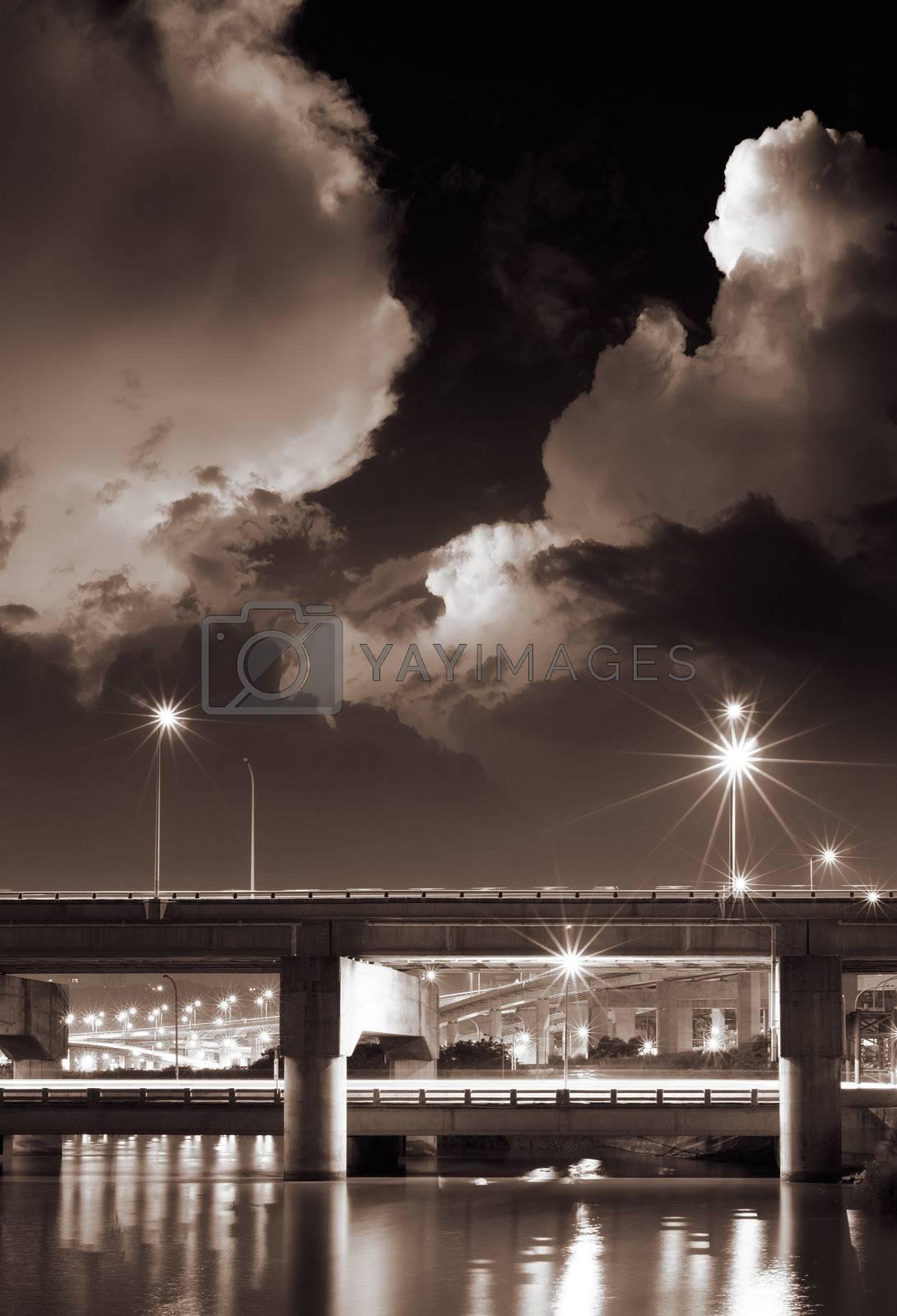 Royalty free image of Cityscape of bridge by elwynn