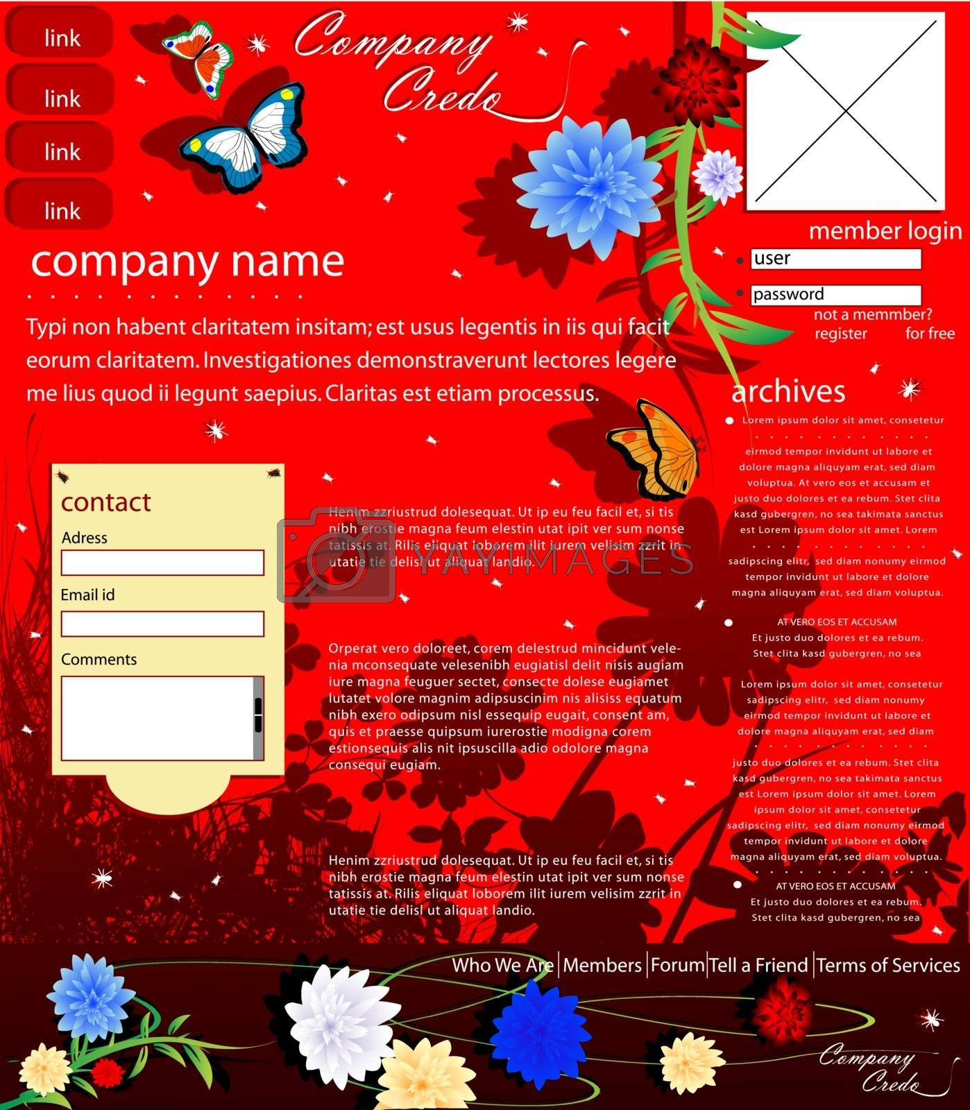 Web template with various insects and flowers, easy to edit vector