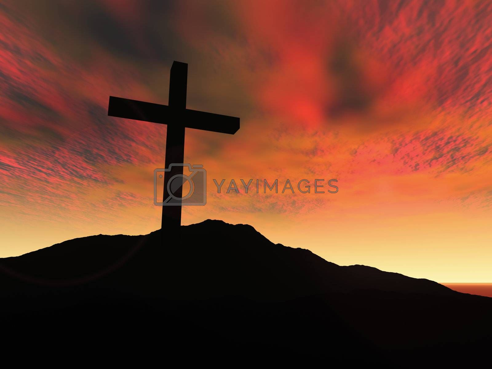 3D Illustration. On the Hill of Golgotha.