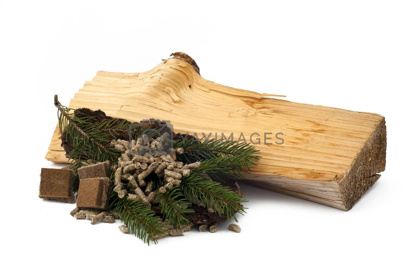 ecological materials for heating on white background