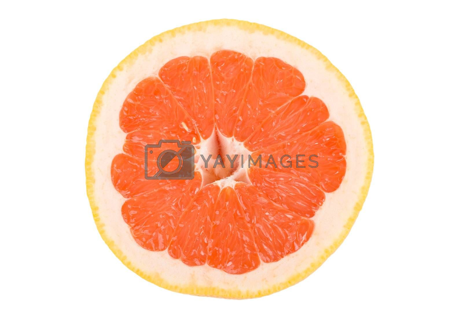 close-up grapefruit peace, isolated on white