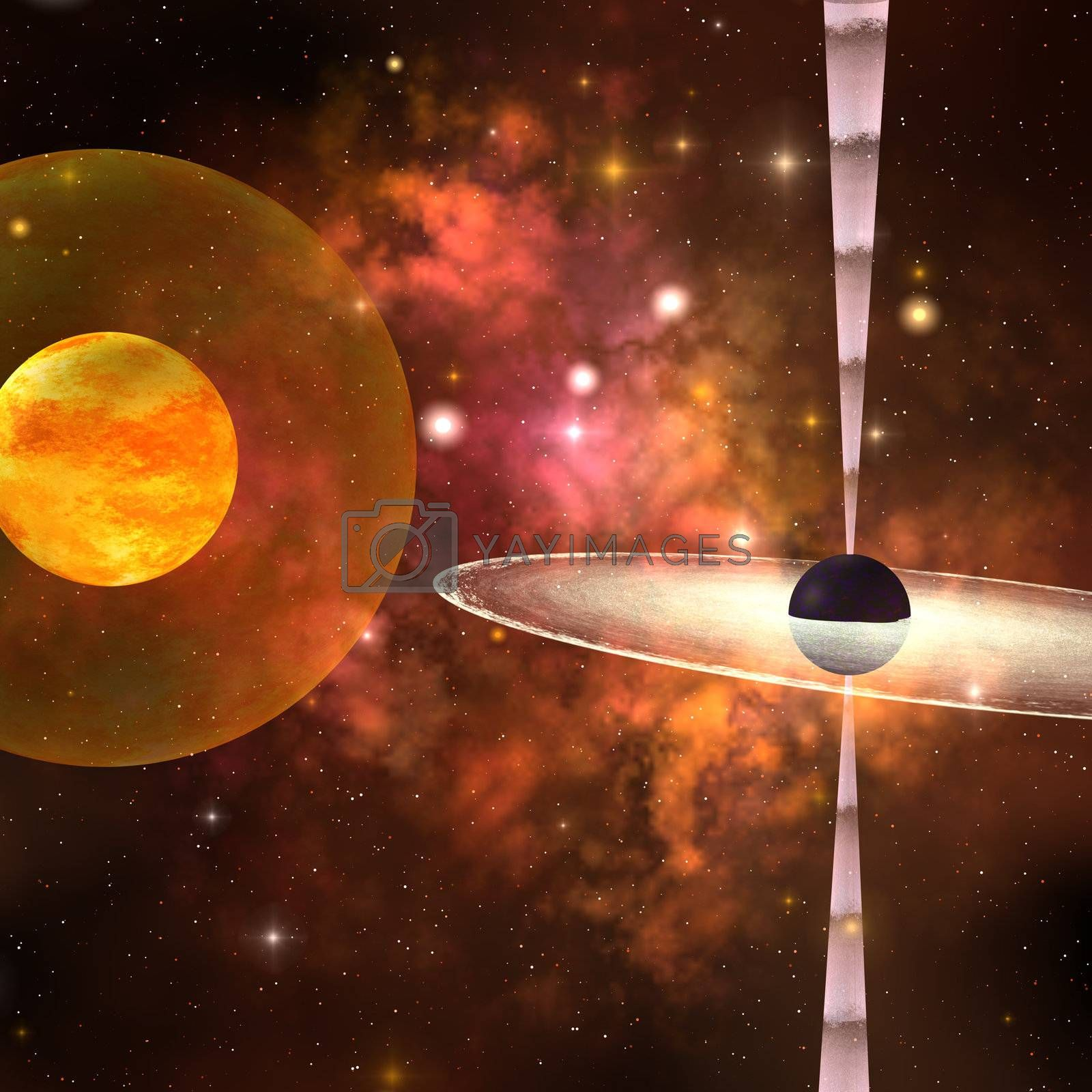 A huge sun encircled by an energy field orbits near a black hole in space.