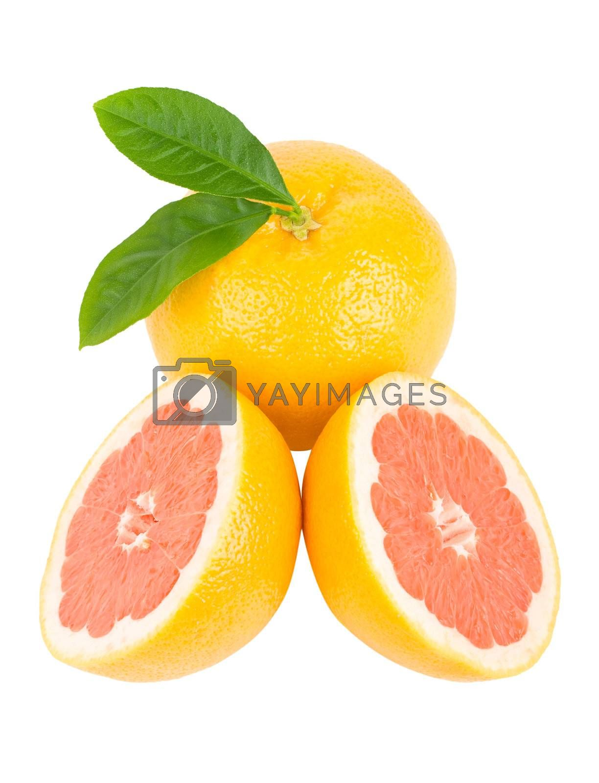 close-up ripe red grapefruits with leaves, isolated on white