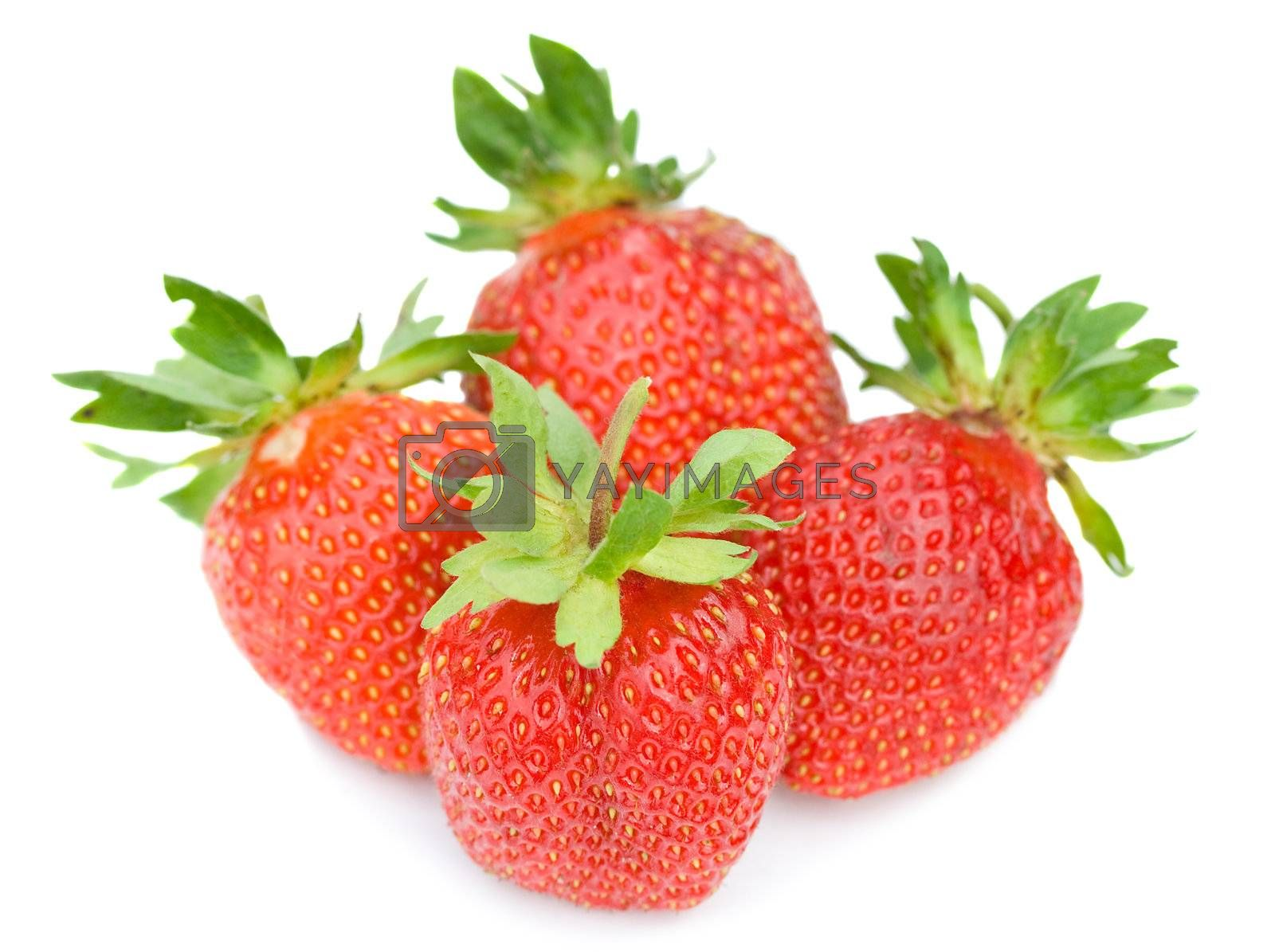 four ripe strawberries, selective focus, isolated on white