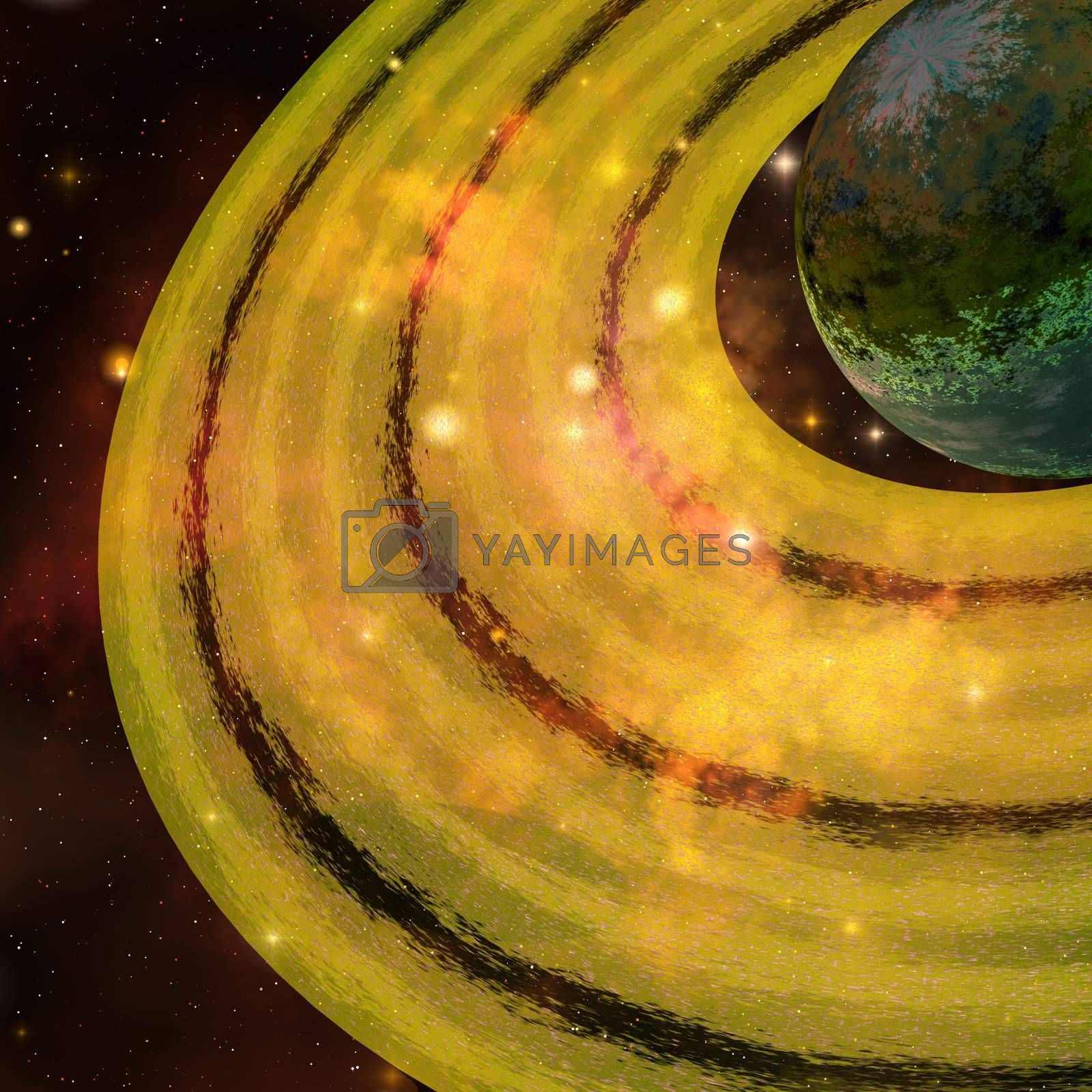 A golden ring system encircles this planet out in the galaxy.