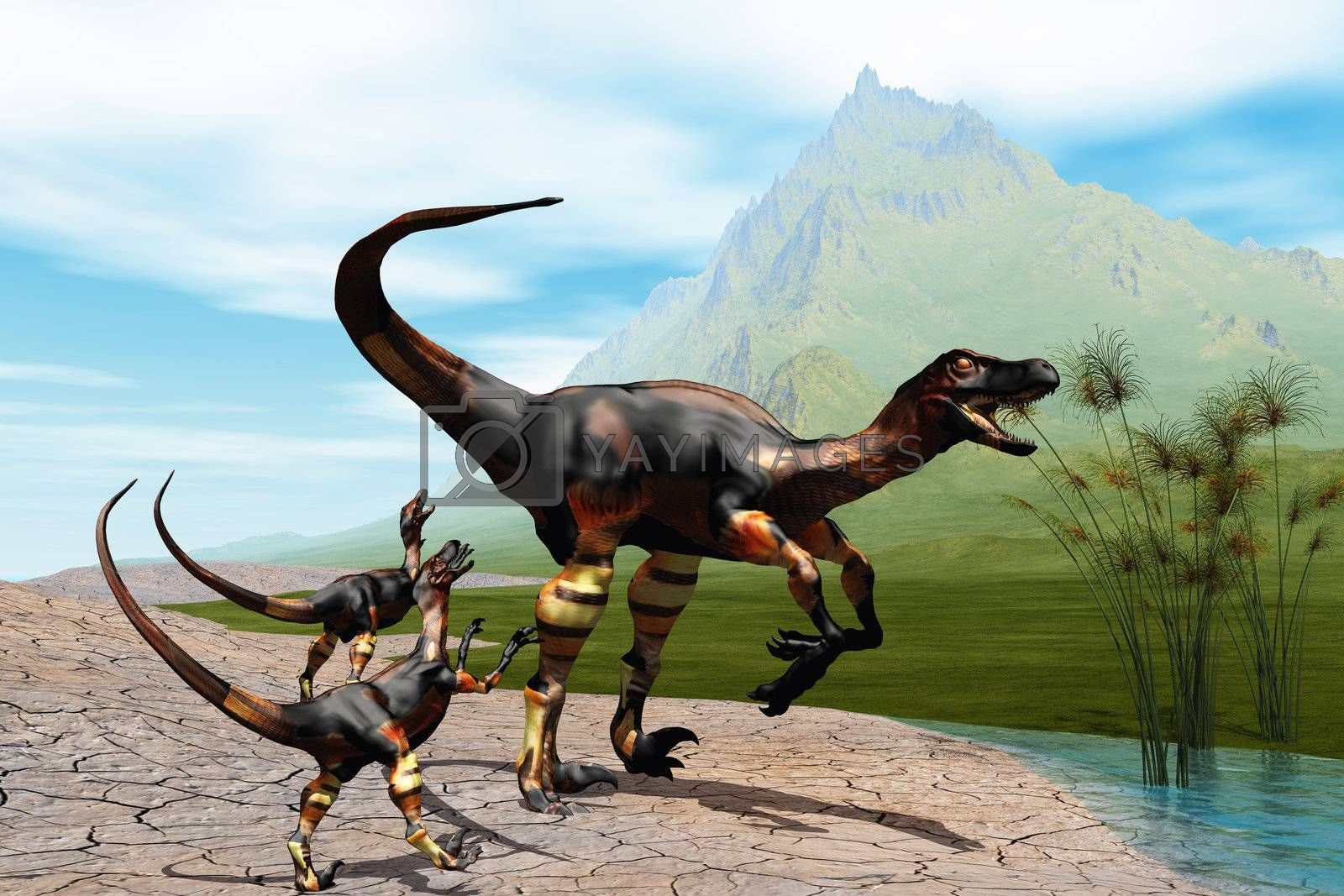 Mother Raptor dinosaur with her two young babies.