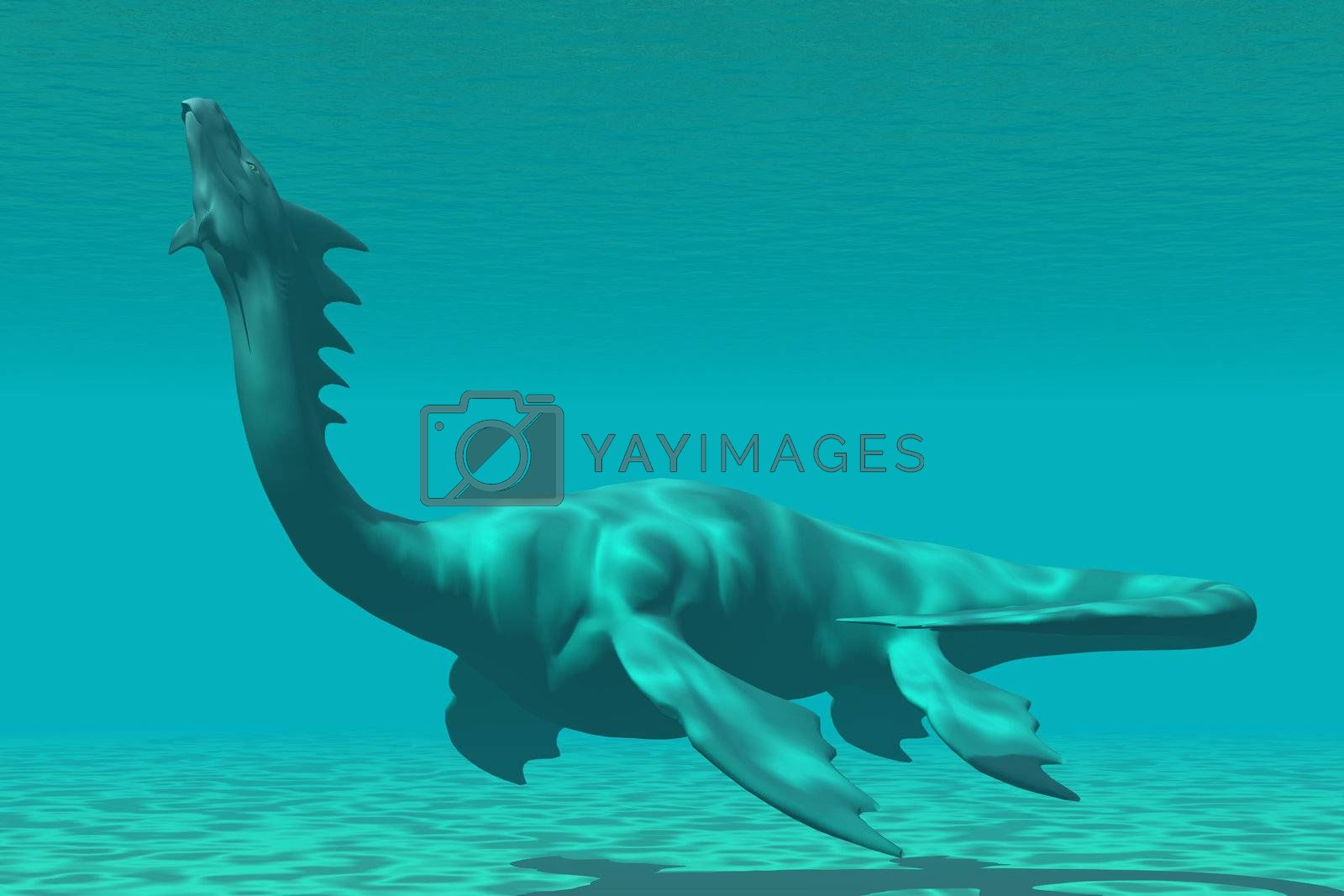 A mythical sea dragon creature is reminiscent of the dinosaur called Plesiosaurus.