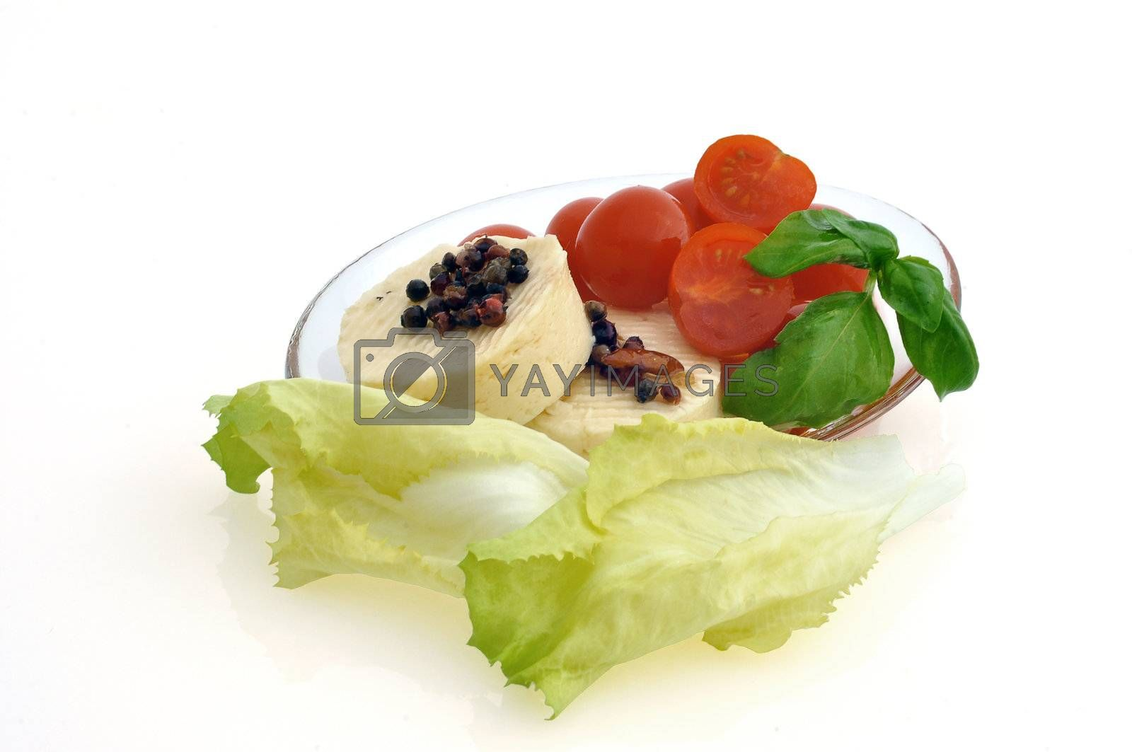 tomatoes, cheese and salad on white background