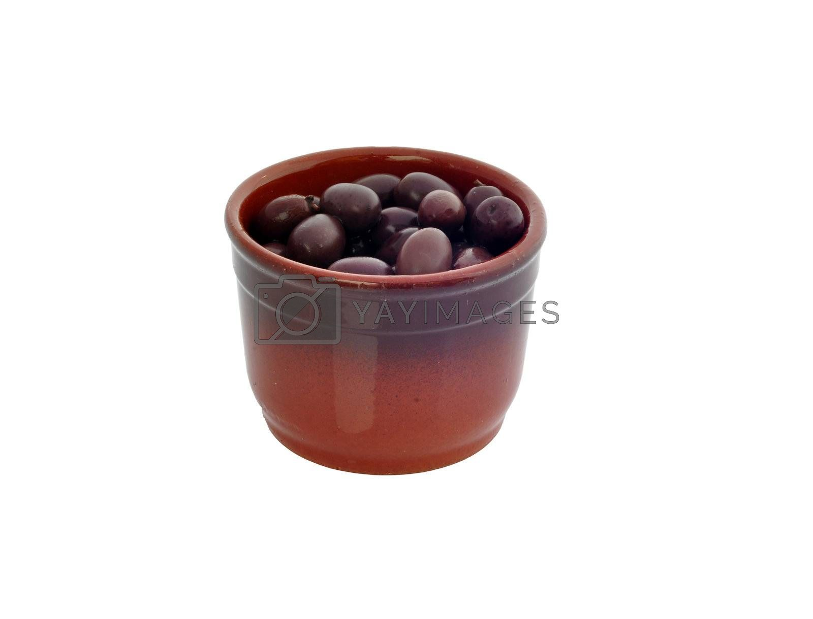 a container with olives on a white background