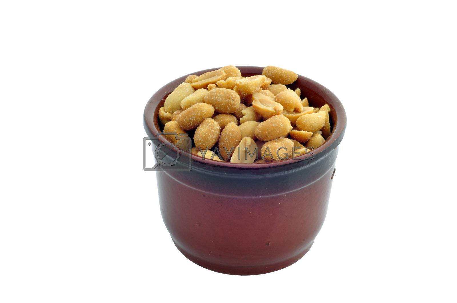 a container with peanuts on a white background