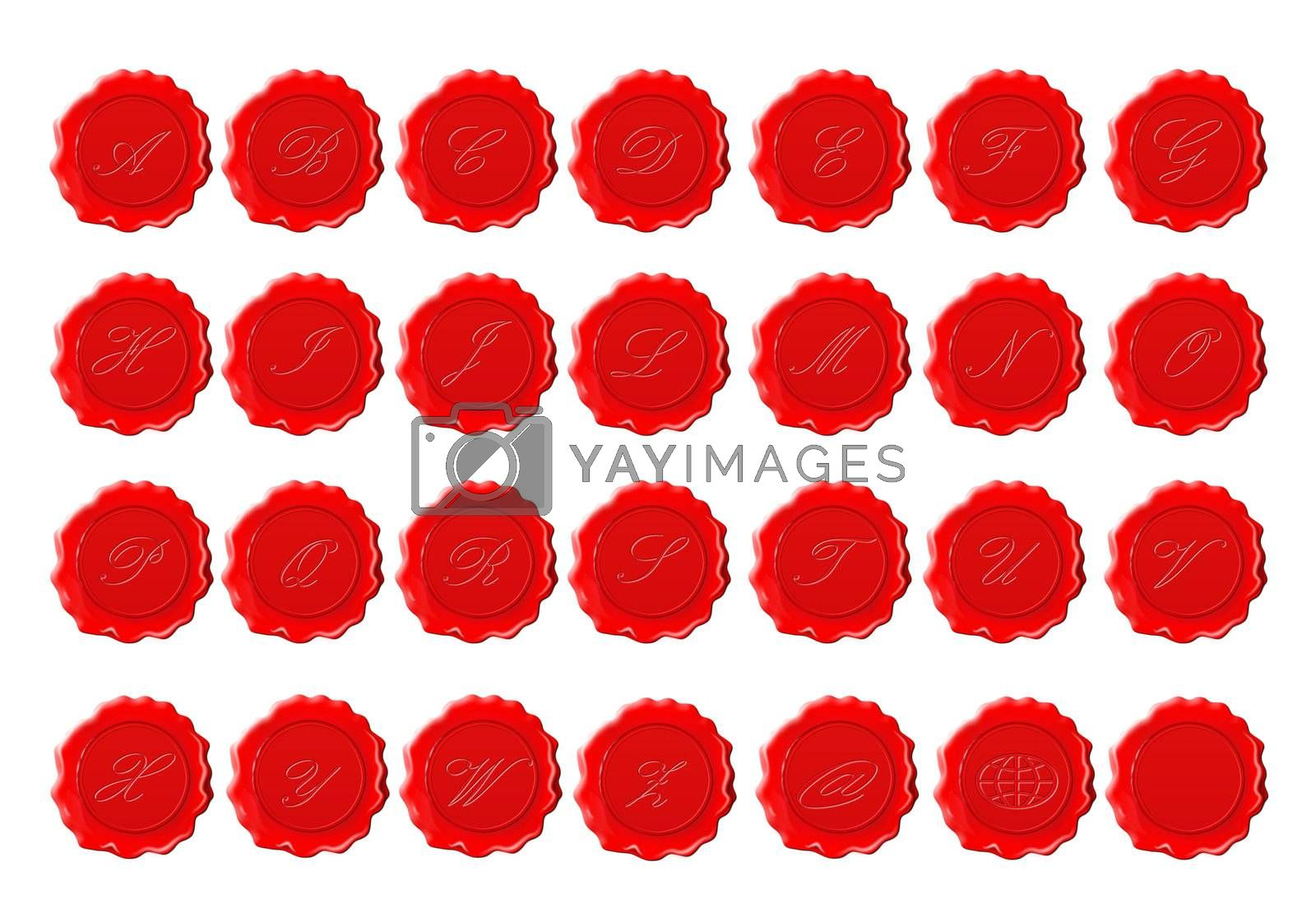 complete alphabet in red wax on a white background