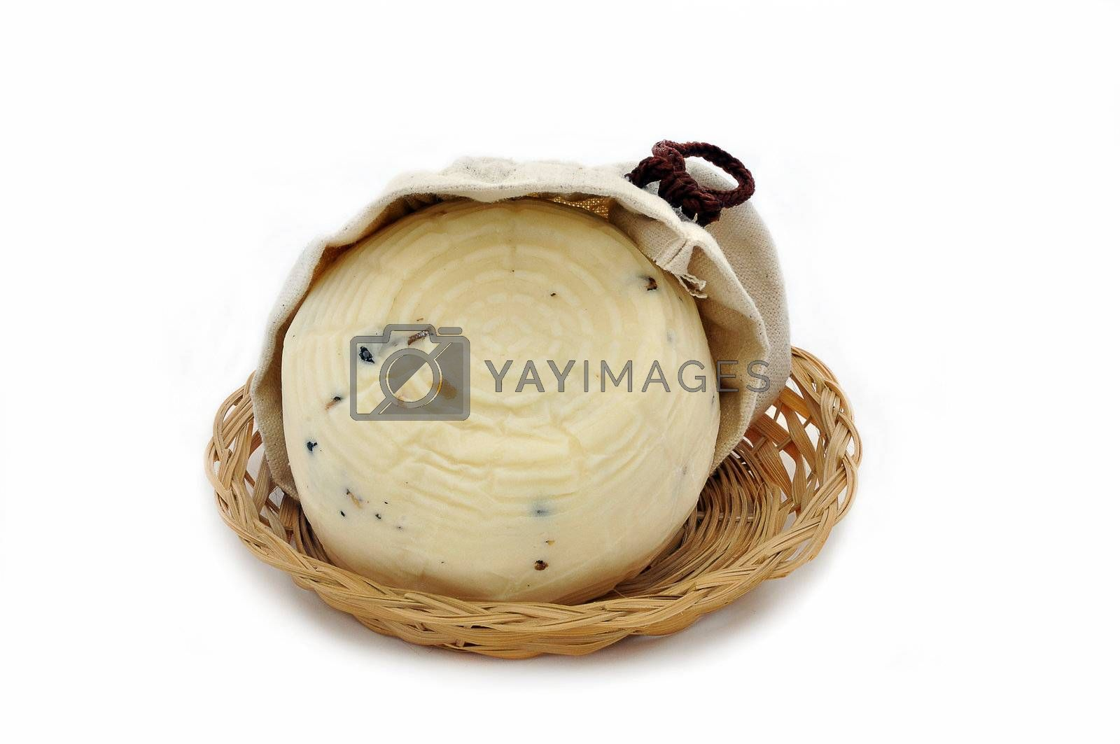 One Cheese with truffles on white backgrounnd