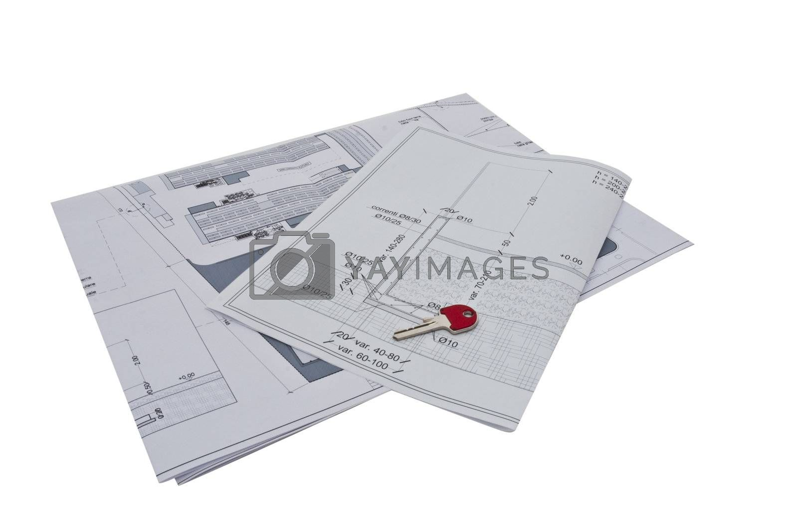 architectural design of a building on a white background