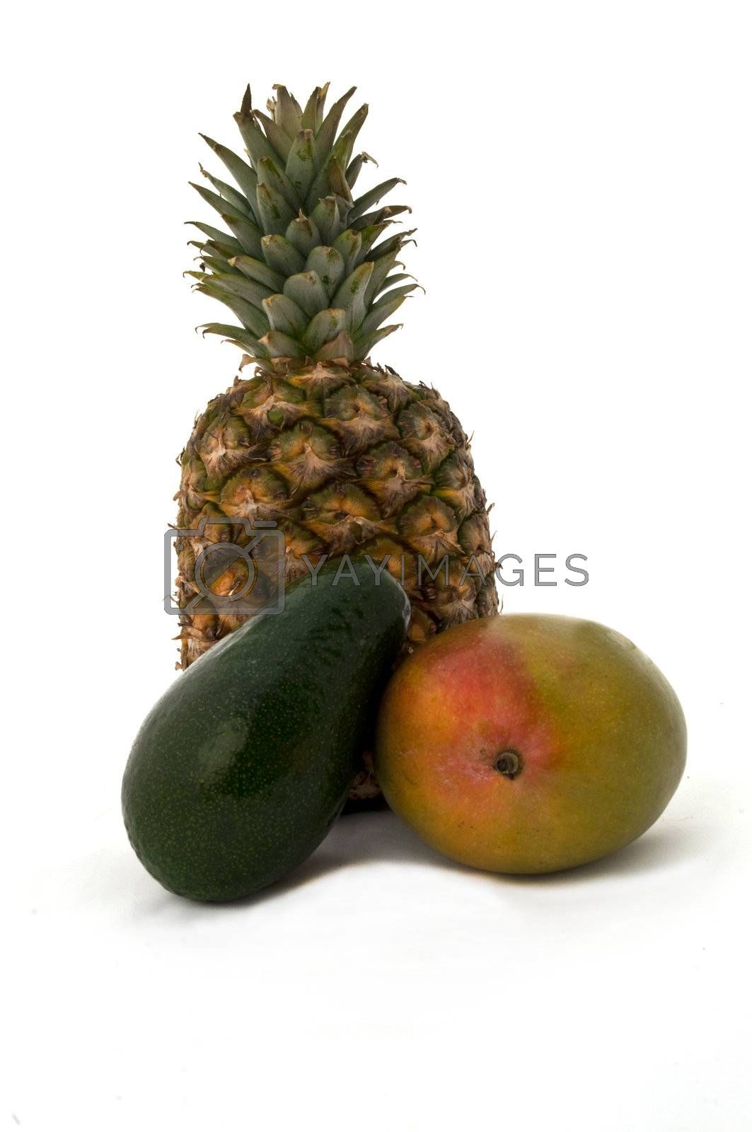 pineapple, mango, papaya together on a white background