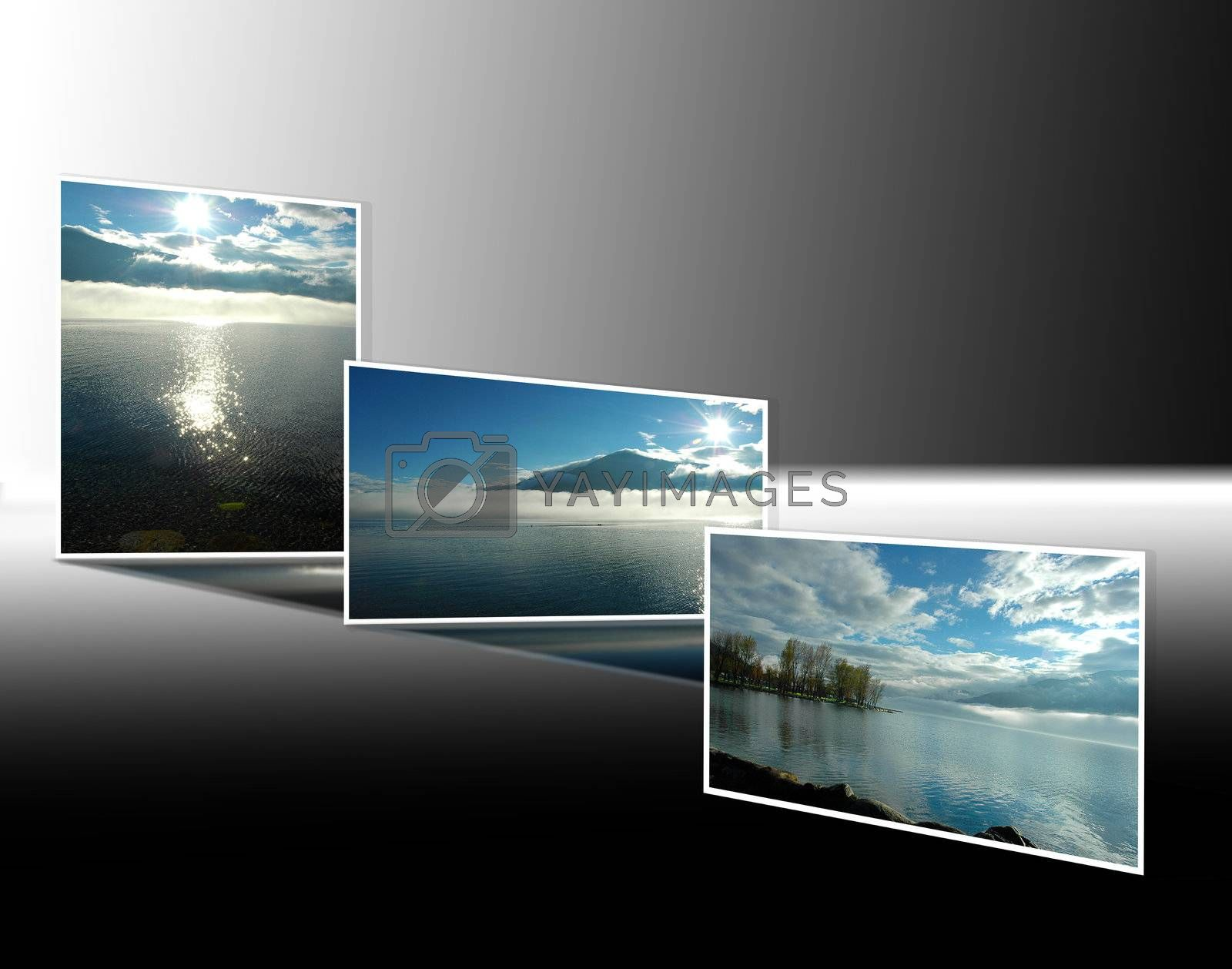 Series of photographs of Lake Maggiore at dawn and dusk