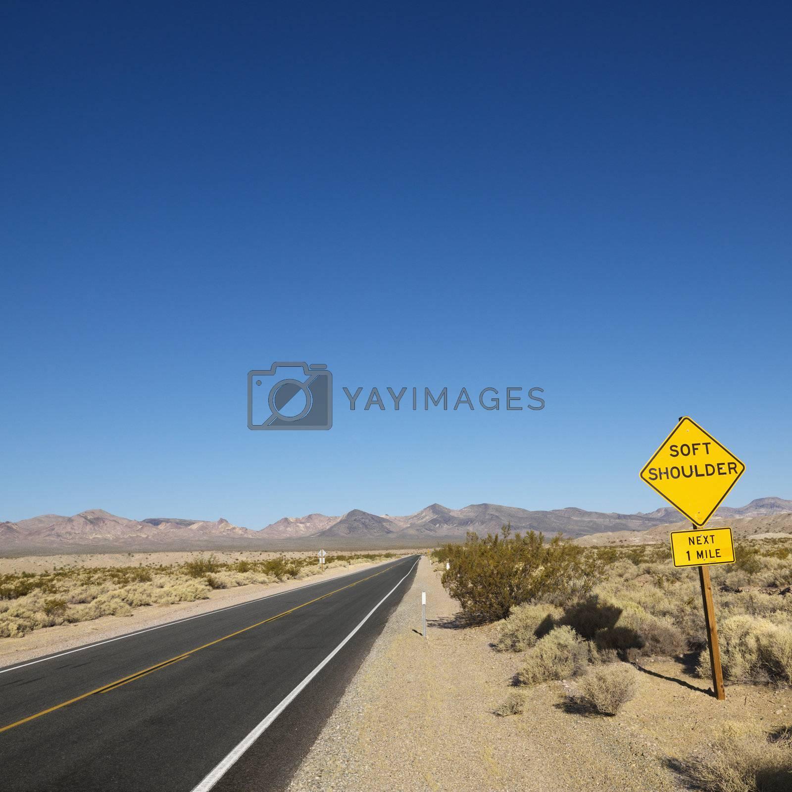 Road in desert. by iofoto