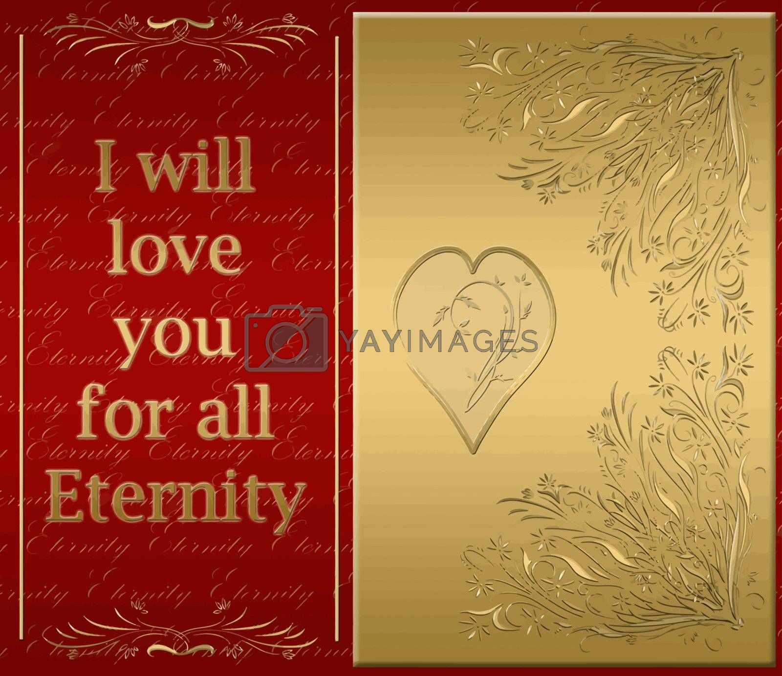 beautiful golden card of love for all eternity