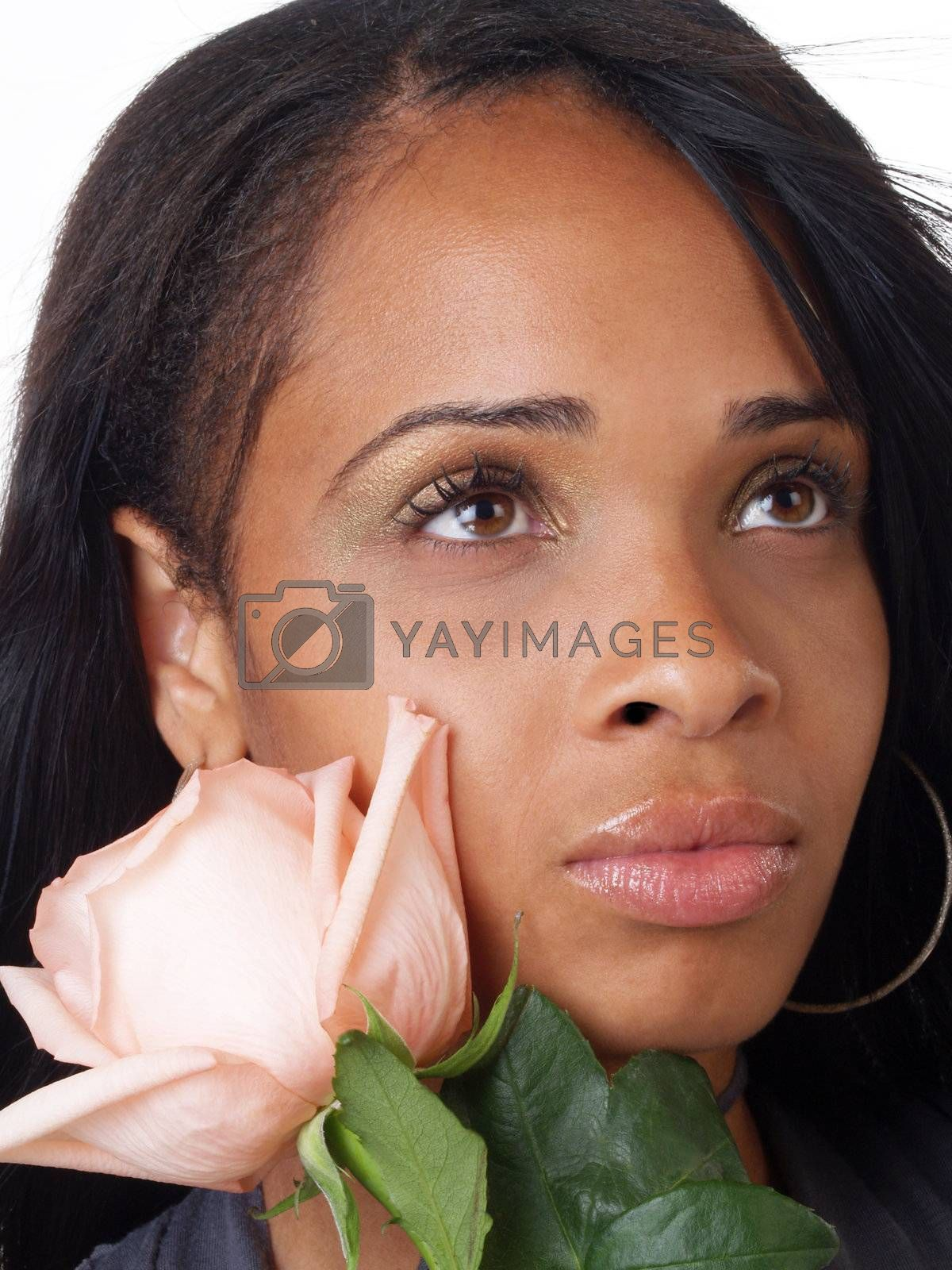 Portrait of young black woman with pink rose to cheek