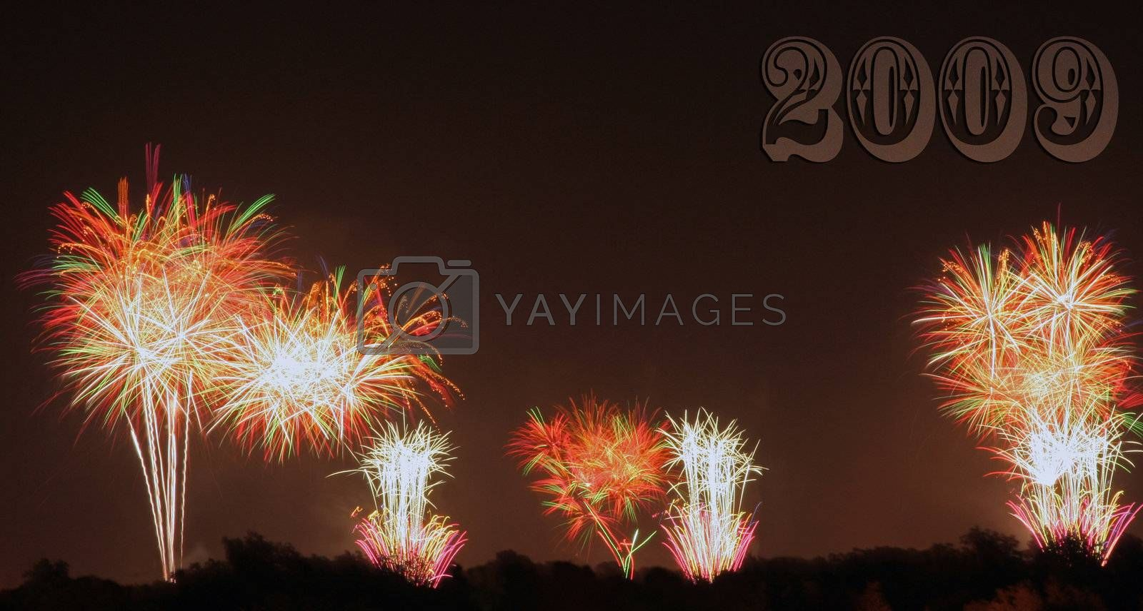 A firework display that was shot off in three locations