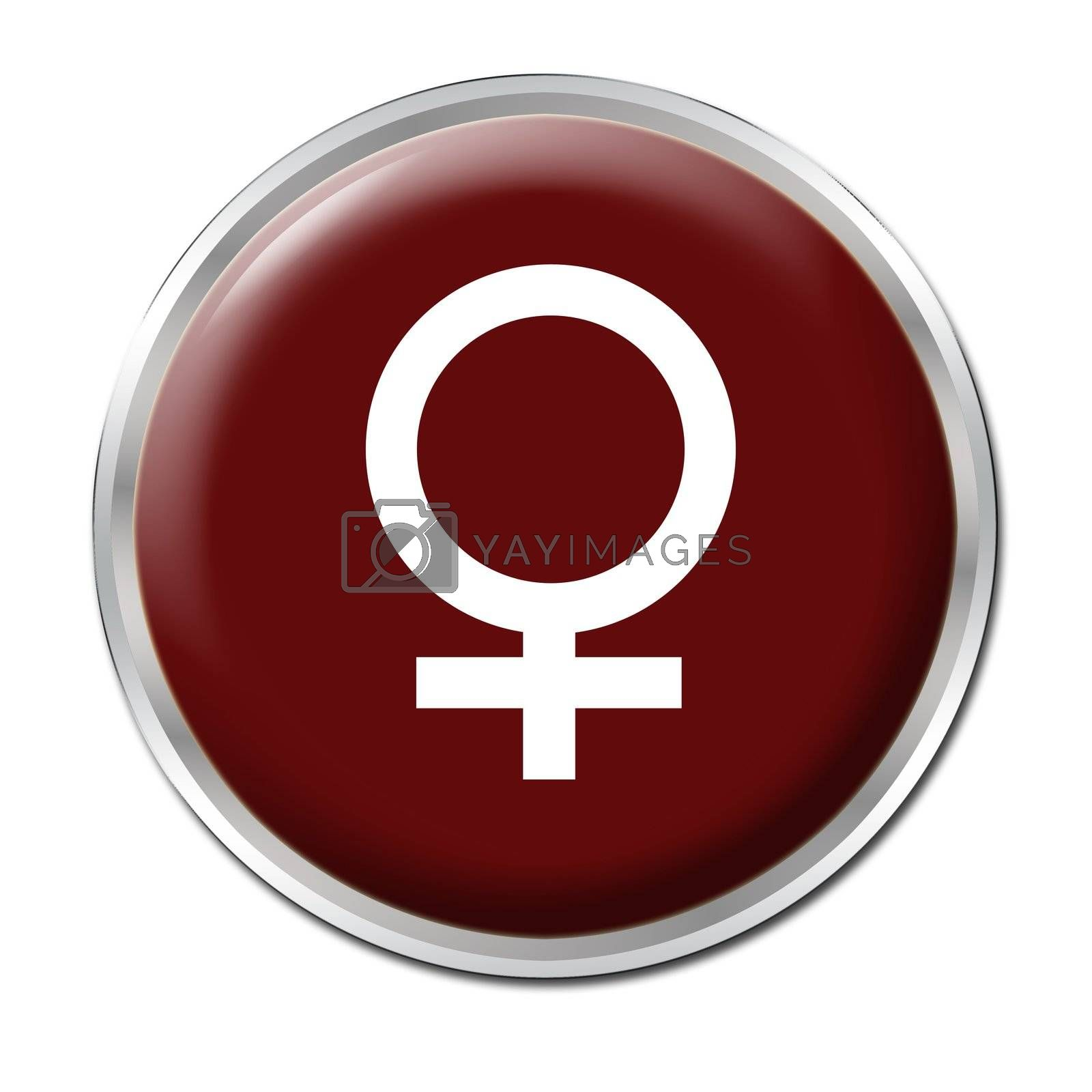 red button with the symbol of a woman