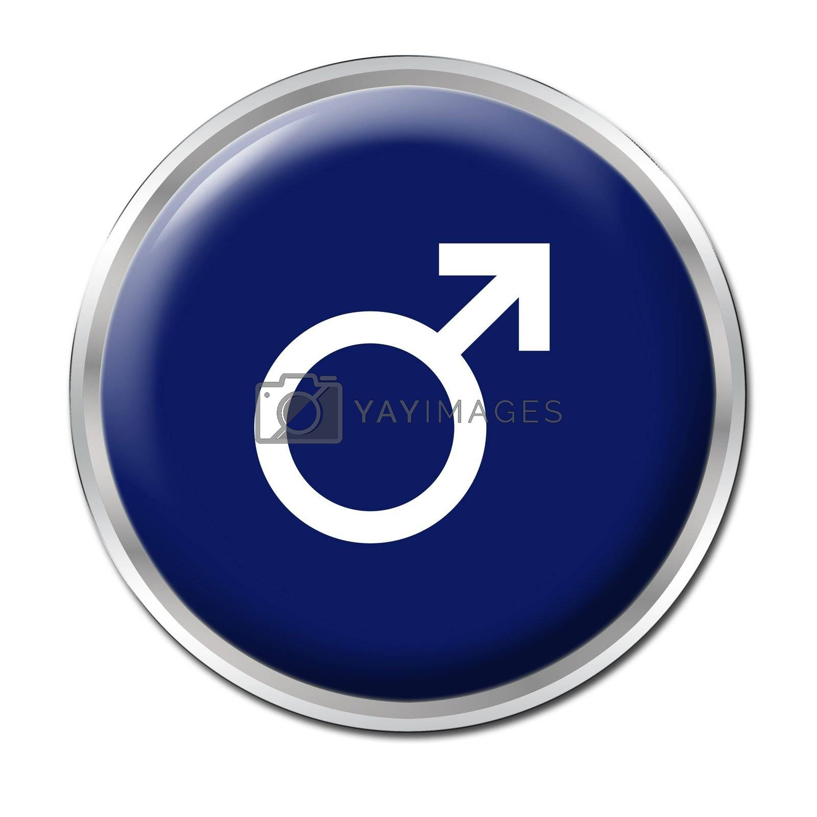 blue button with the symbol of a man;