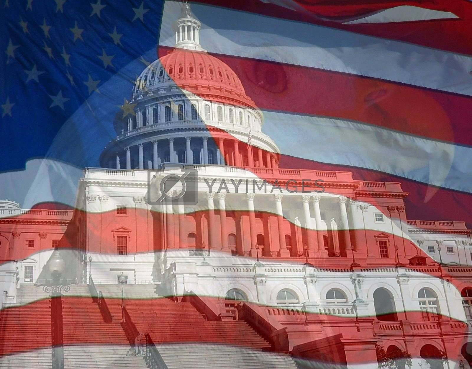 Royalty free image of Flag Eagle US Capital Composite by bellafotosolo