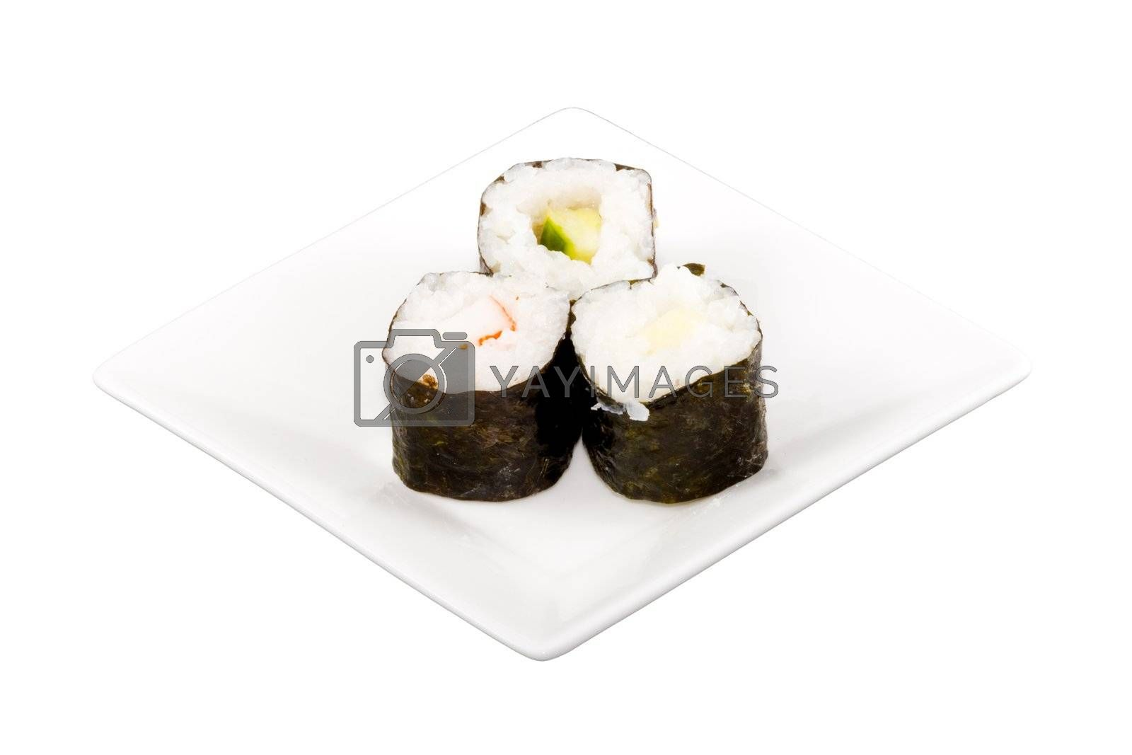 a square white plate with three pieces of sushi