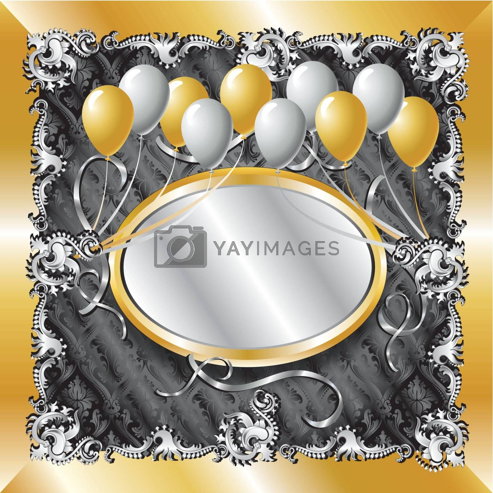 Vector Illustration of fancy Gold & Silver Balloon Background template. Can be used for weddings, parties and more. Template design, can insert text or photo.