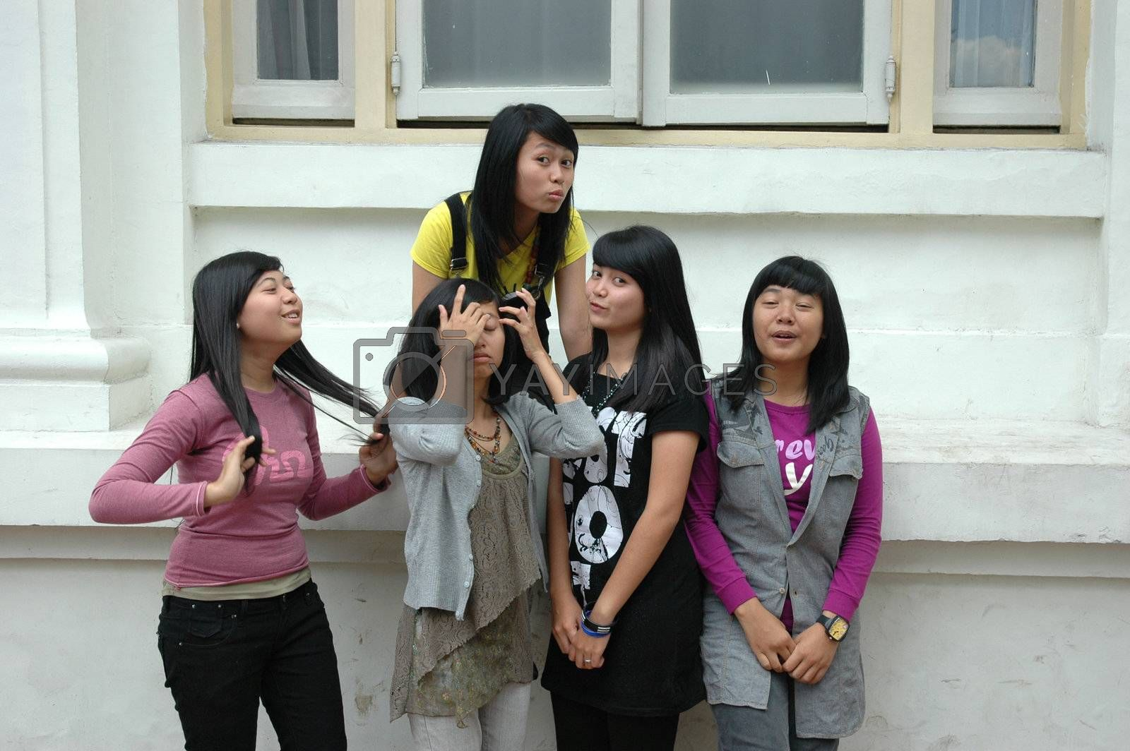 group of teenage girl get possed together