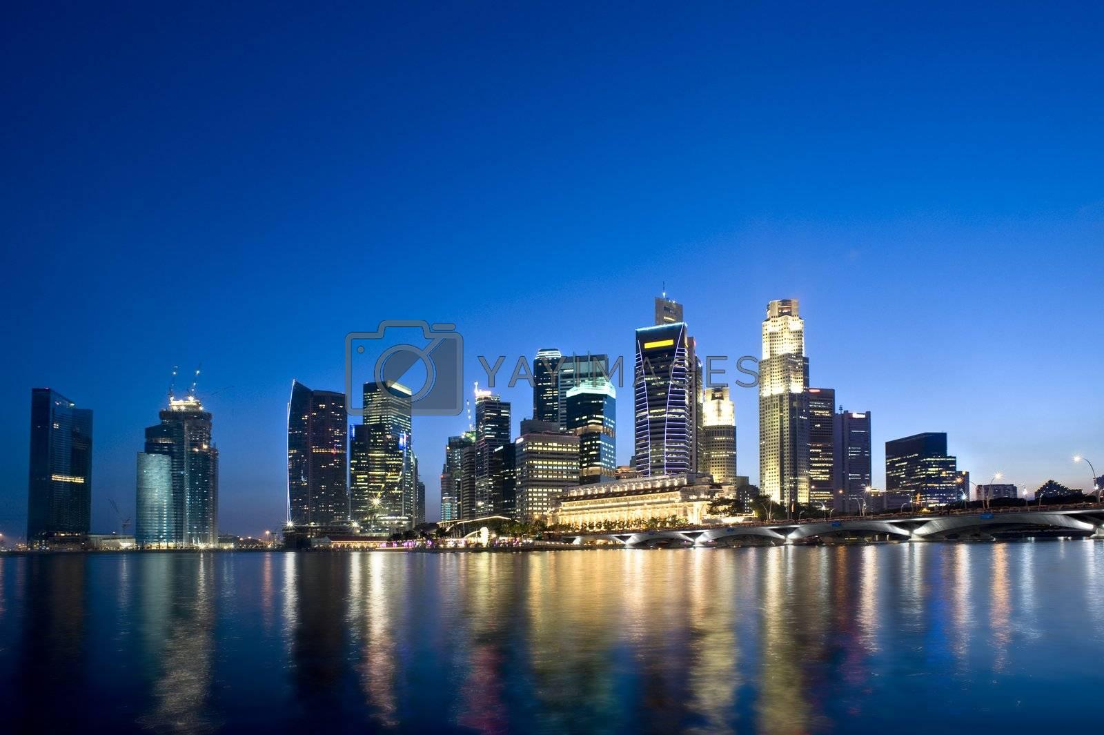 Singapore City skyline as it was in Feb 2010.