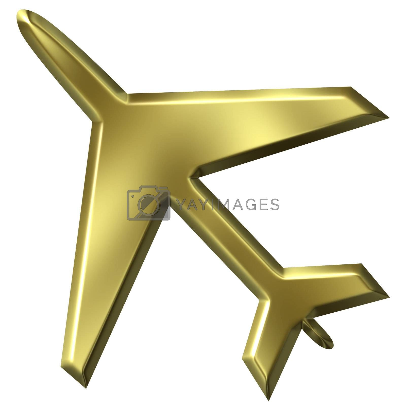 3d golden airplane isolated in white