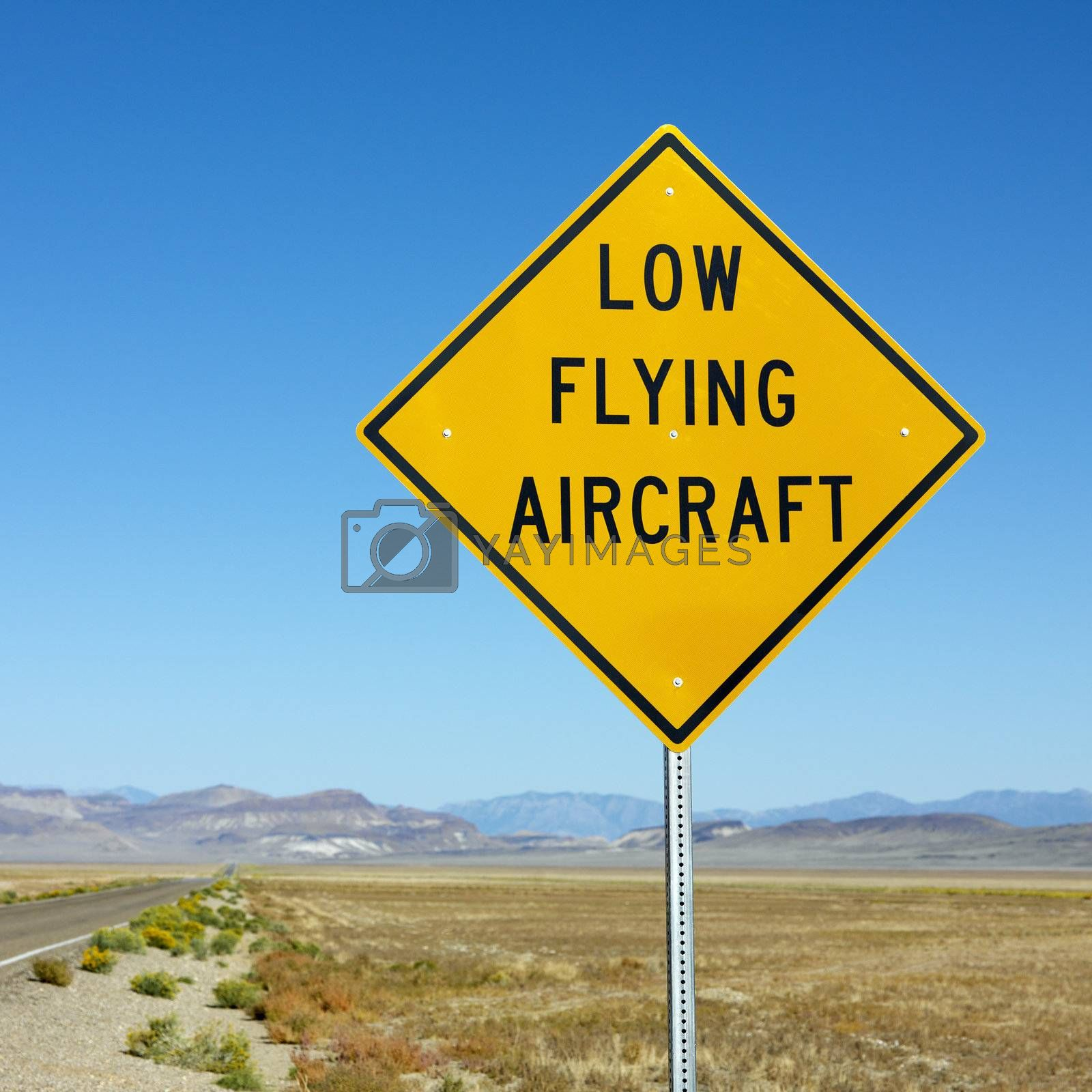 Low flying aircraft sign. by iofoto