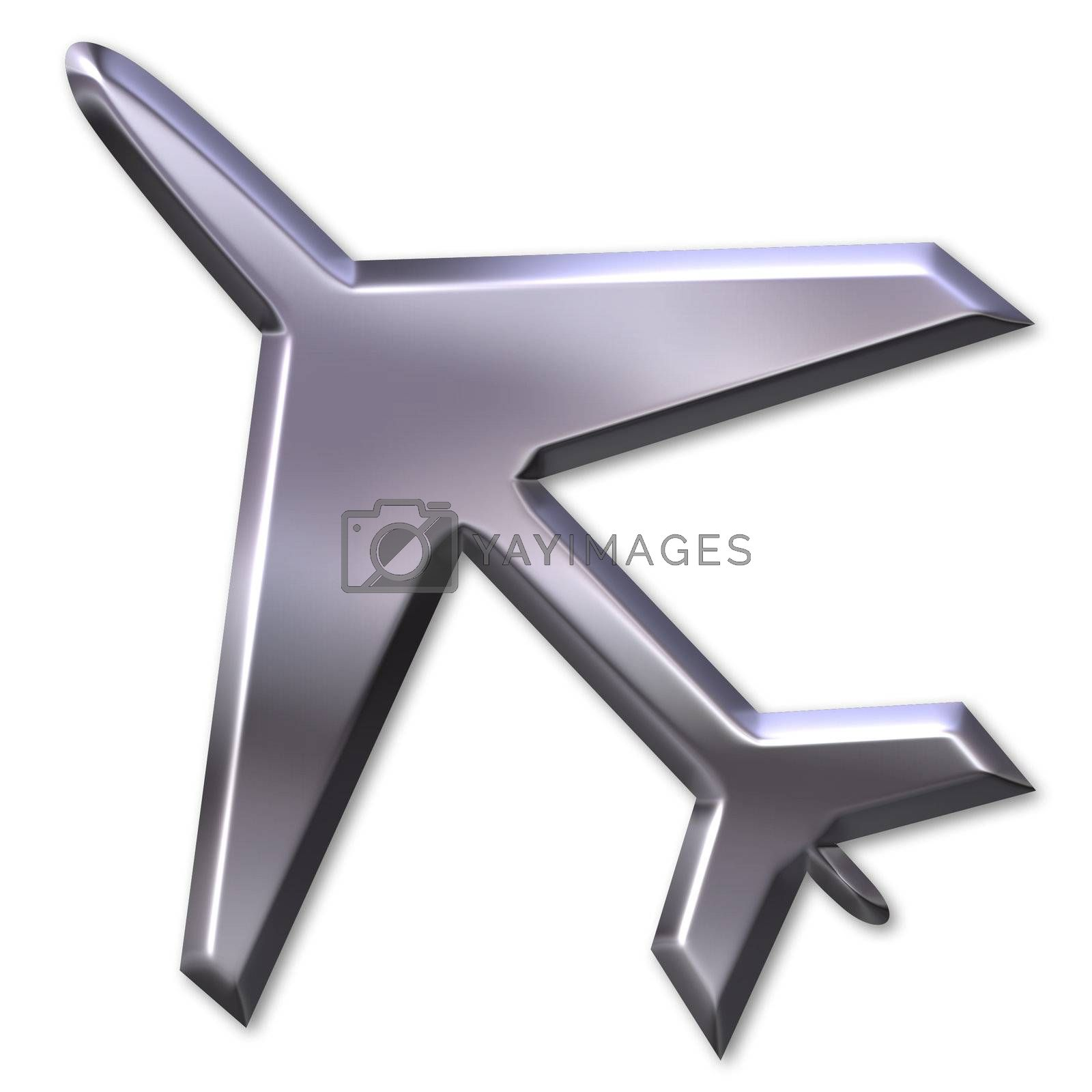 3d silver airplane isolated in white