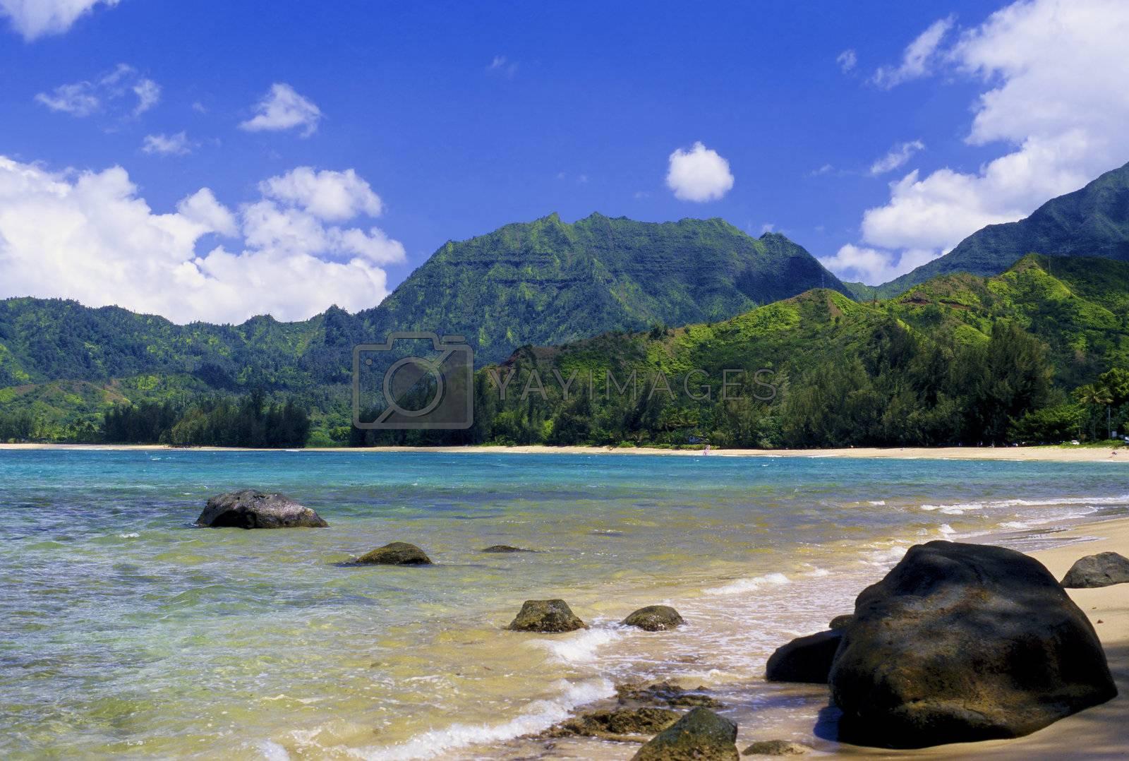 Beautiful Hanalei Bay is located on the scenic north shore of Kauai, Hawaii.
